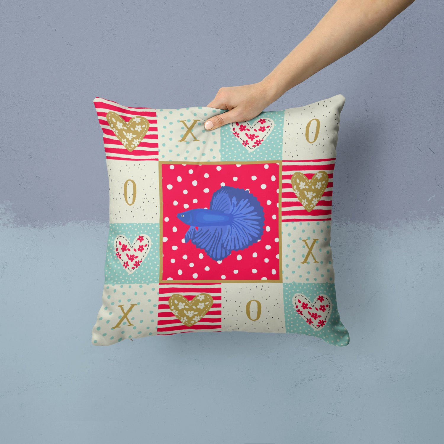 Delta Tail Betta Fish Love Fabric Decorative Pillow CK5468PW1414 by Caroline's Treasures