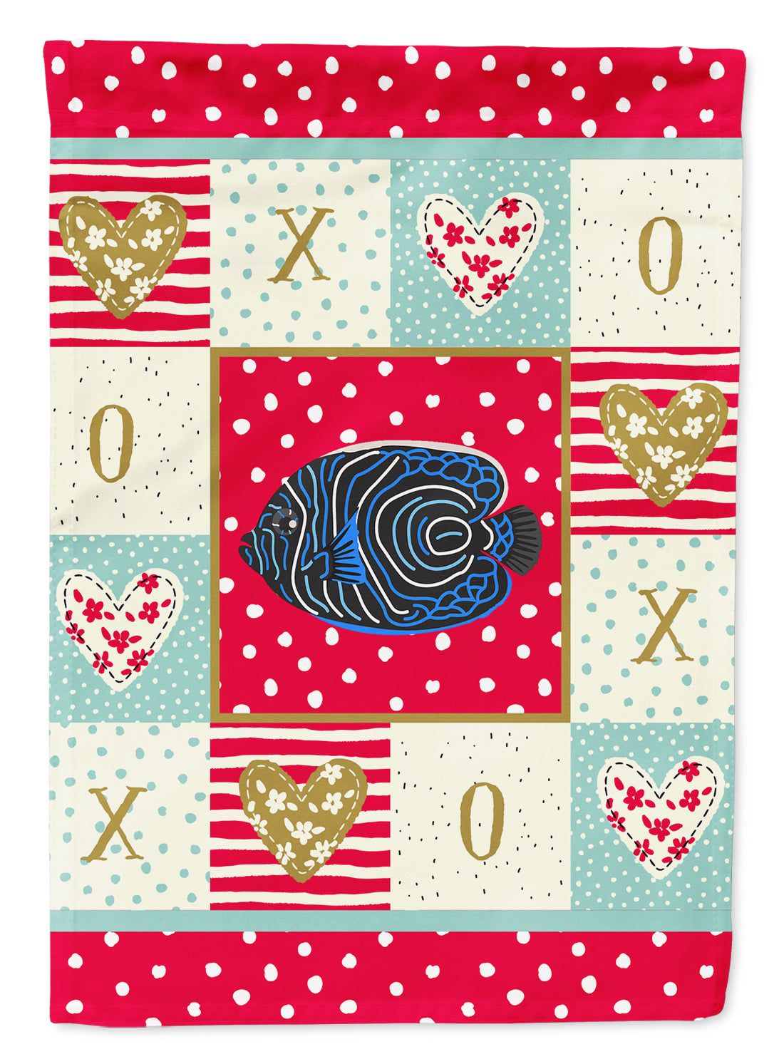 Emperor Angelfish Love Flag Canvas House Size CK5469CHF by Caroline's Treasures
