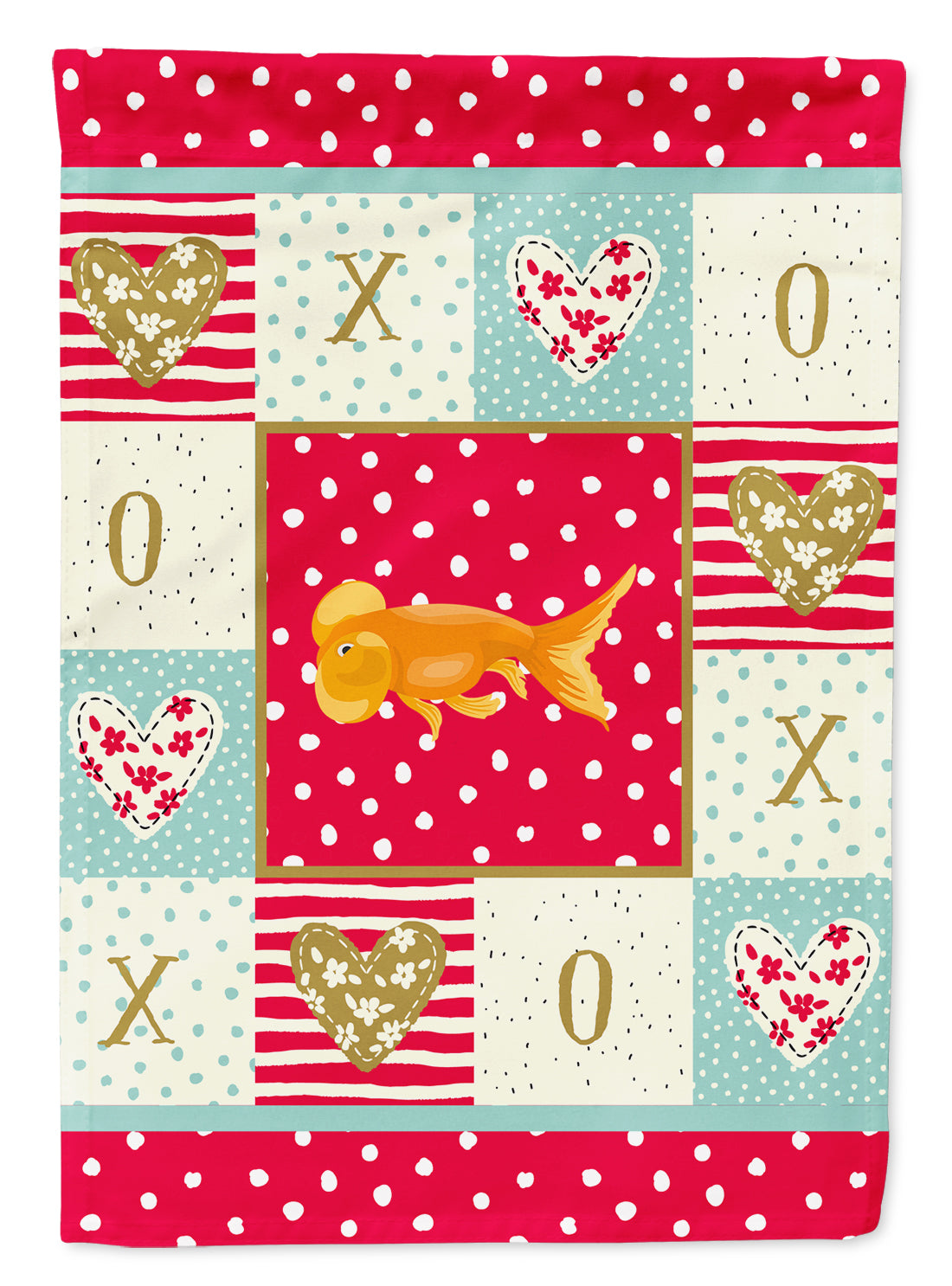 Bubble Eyed Goldfish Love Flag Canvas House Size CK5470CHF by Caroline's Treasures