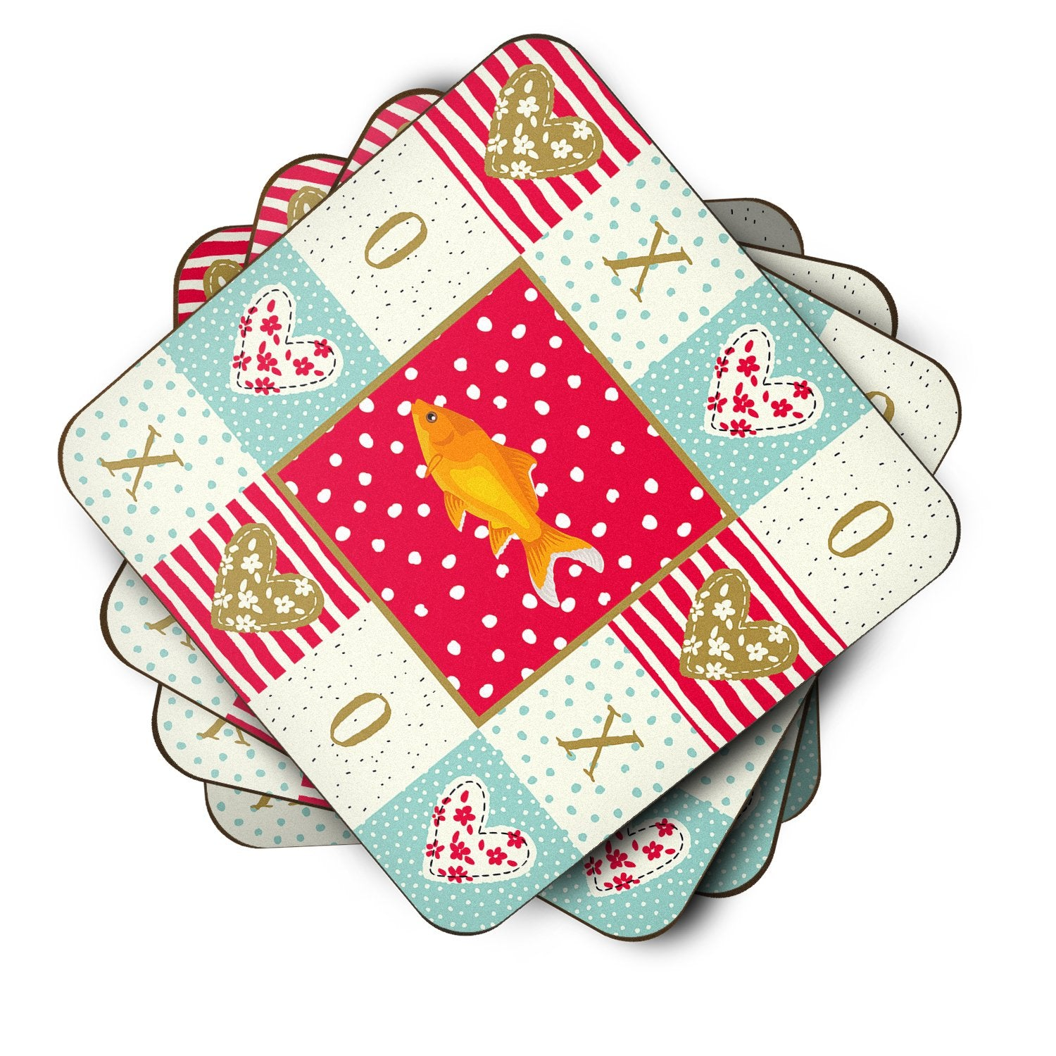 Set of 4 Goldfish Common Love Foam Coasters Set of 4 CK5473FC by Caroline's Treasures
