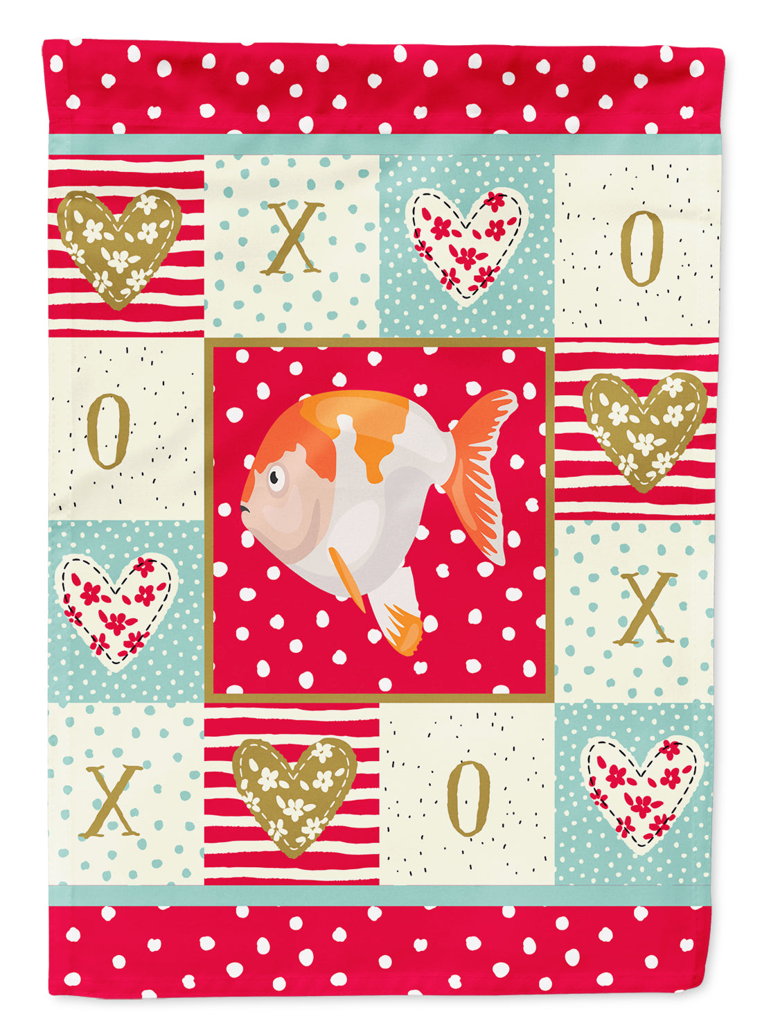 Lionhead Goldfish Love Flag Canvas House Size CK5474CHF by Caroline's Treasures