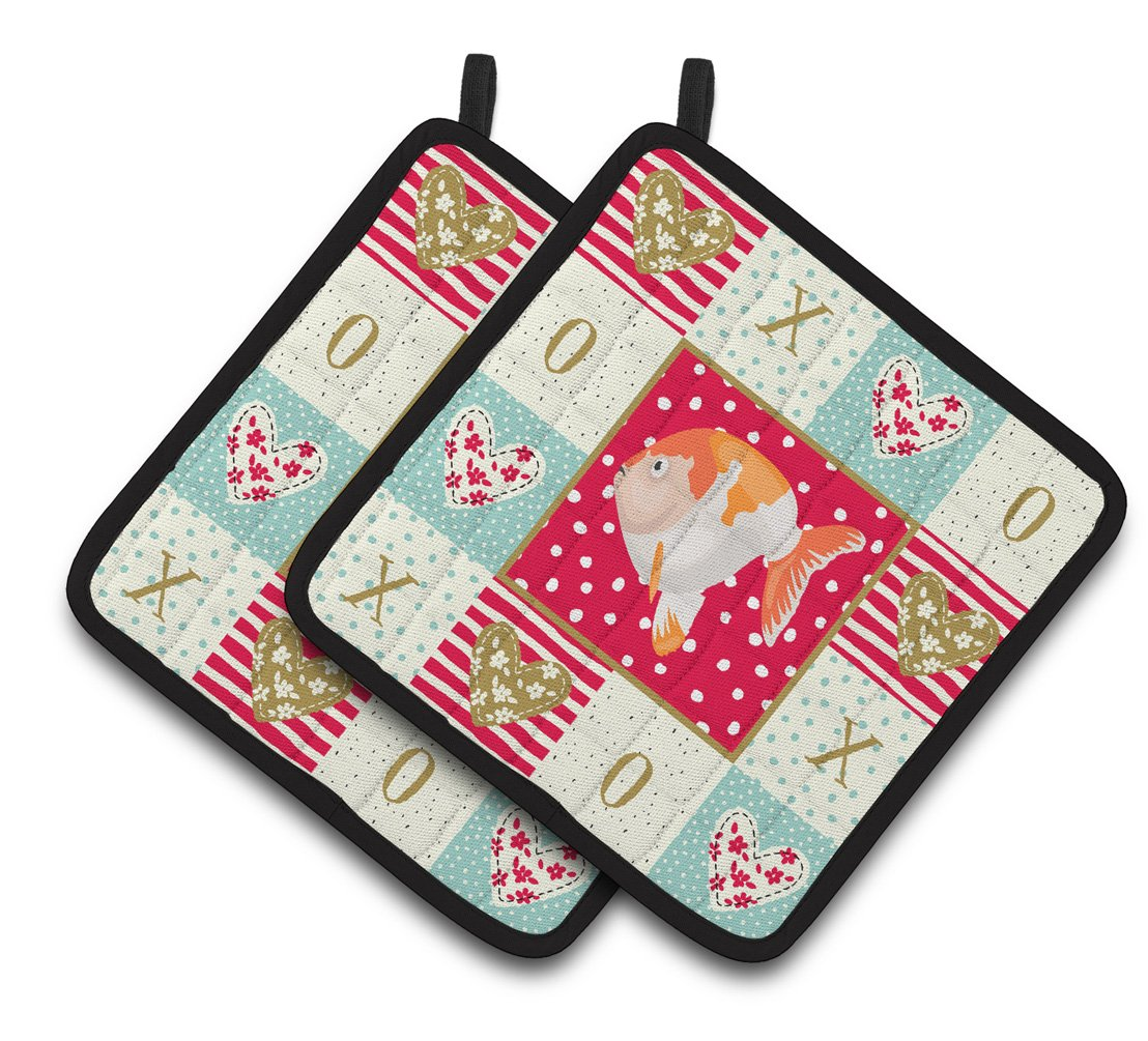Buy this Lionhead Goldfish Love Pair of Pot Holders CK5474PTHD