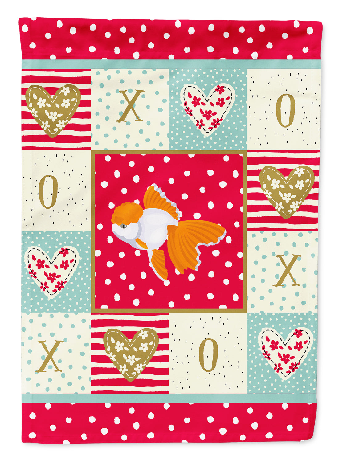 Oranda Red Cap Goldfish Love Flag Canvas House Size CK5475CHF by Caroline's Treasures