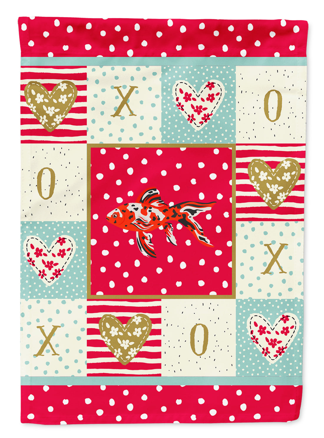Shubunkin Goldfish Love Flag Canvas House Size CK5478CHF by Caroline's Treasures