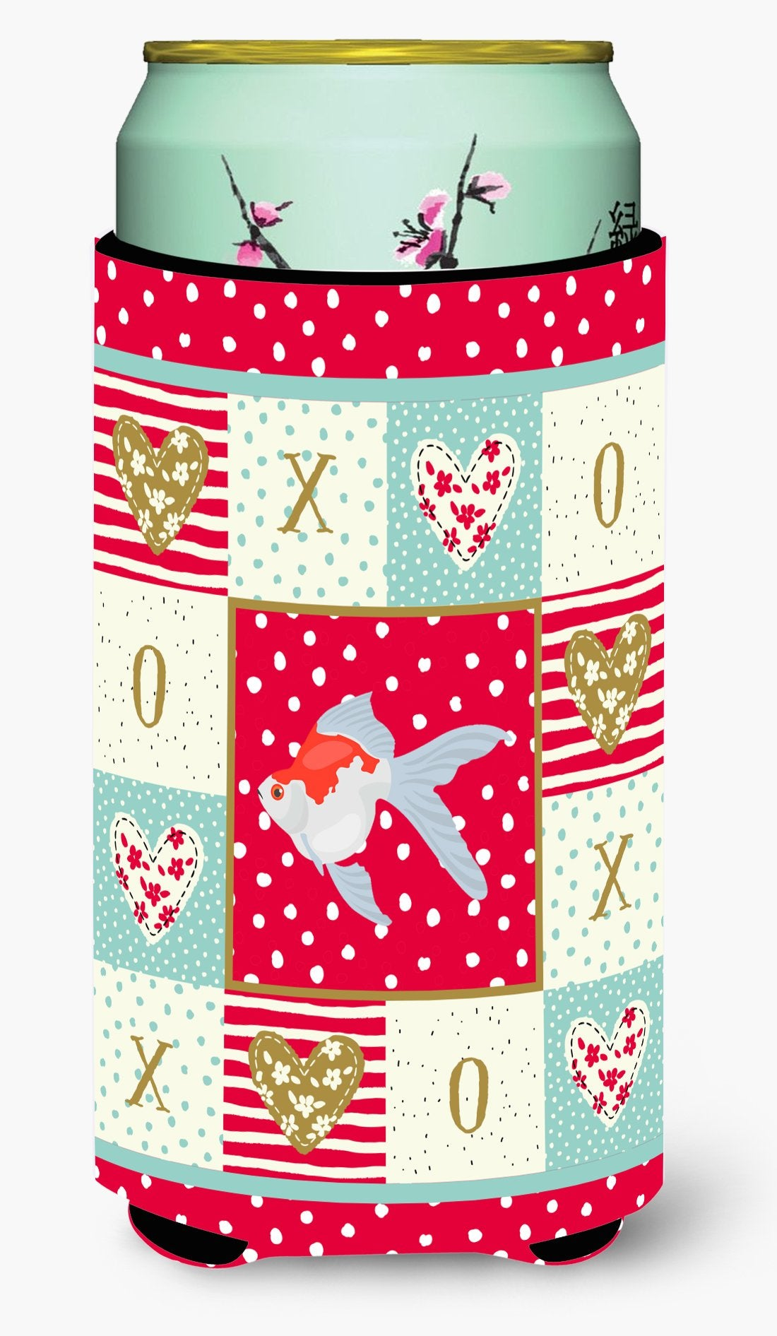 Tamasaba Goldfish Love Tall Boy Beverage Insulator Hugger CK5479TBC by Caroline's Treasures