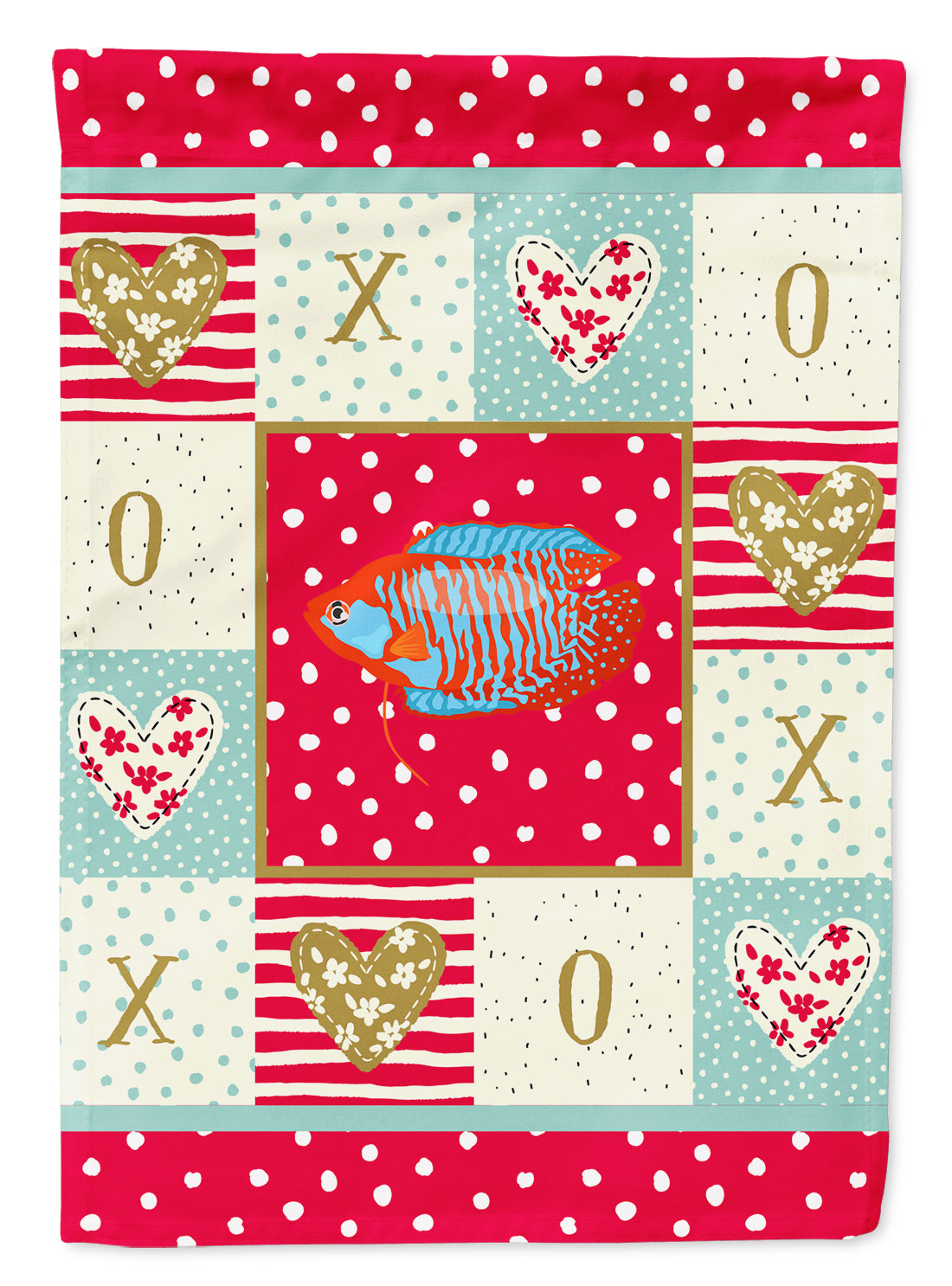 Dwarf Gourami Love Flag Canvas House Size CK5485CHF by Caroline's Treasures