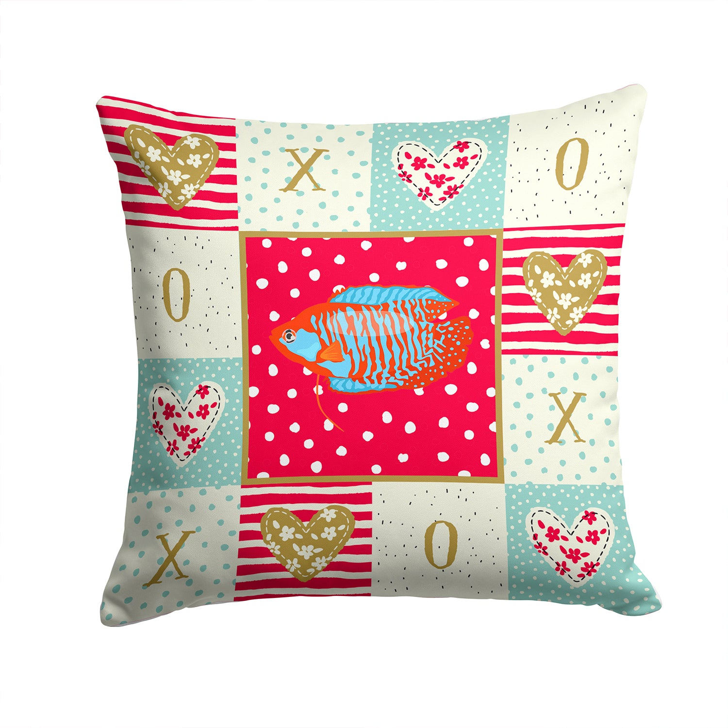 Dwarf Gourami Love Fabric Decorative Pillow CK5485PW1414 by Caroline's Treasures