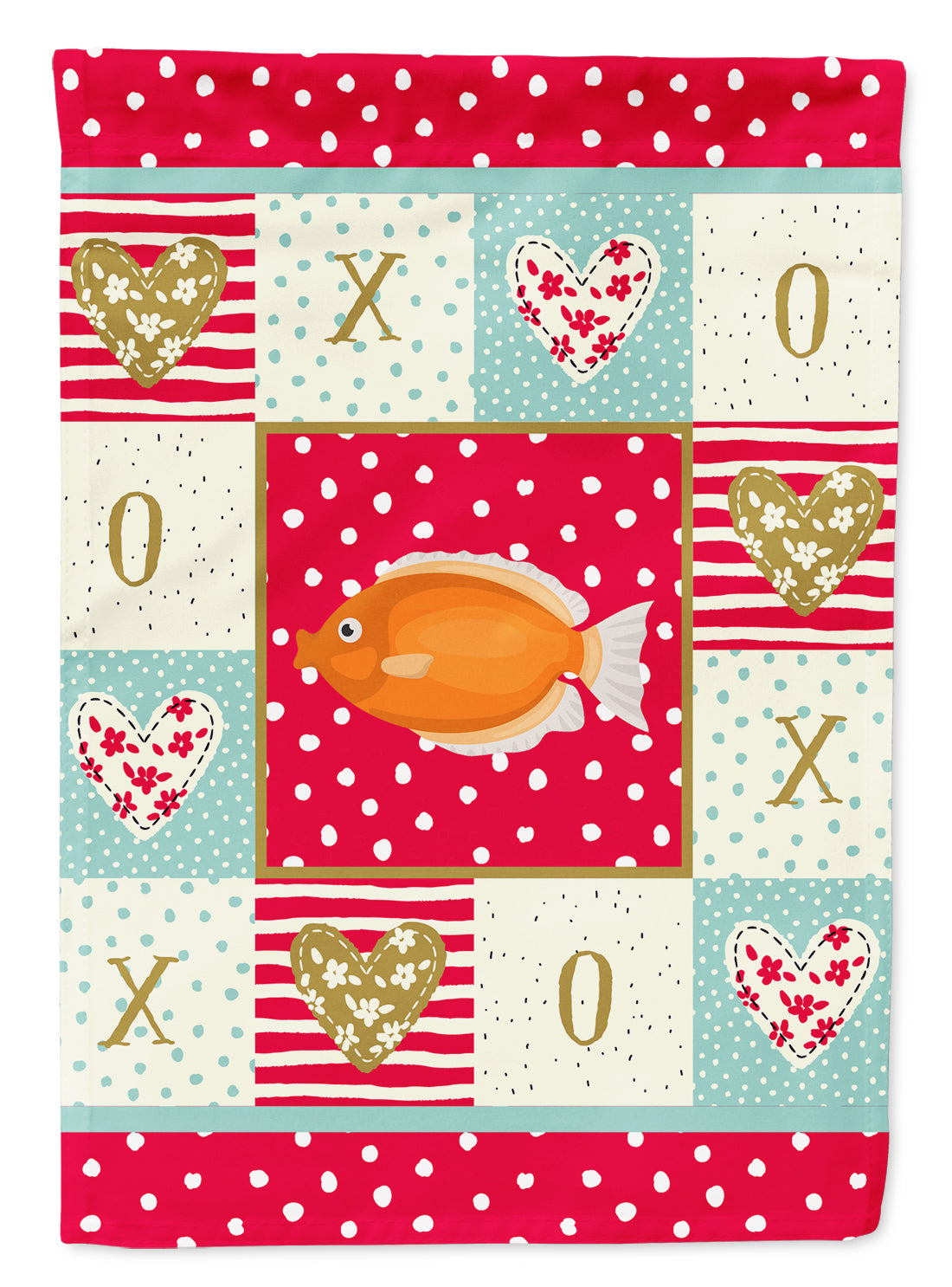 Kissing Gourami Love Flag Canvas House Size CK5488CHF by Caroline's Treasures