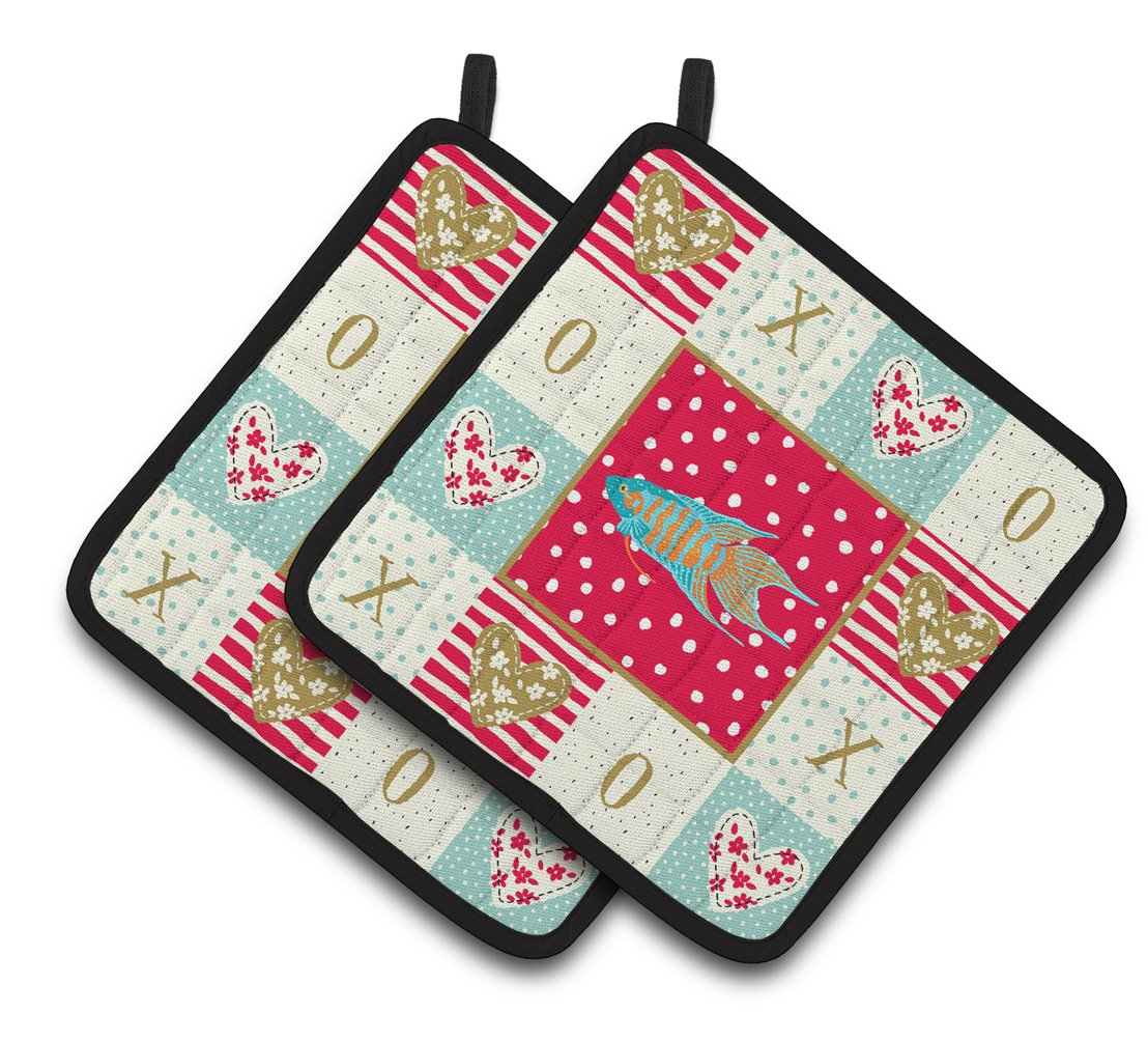 Buy this Paradise Fish Love Pair of Pot Holders CK5491PTHD