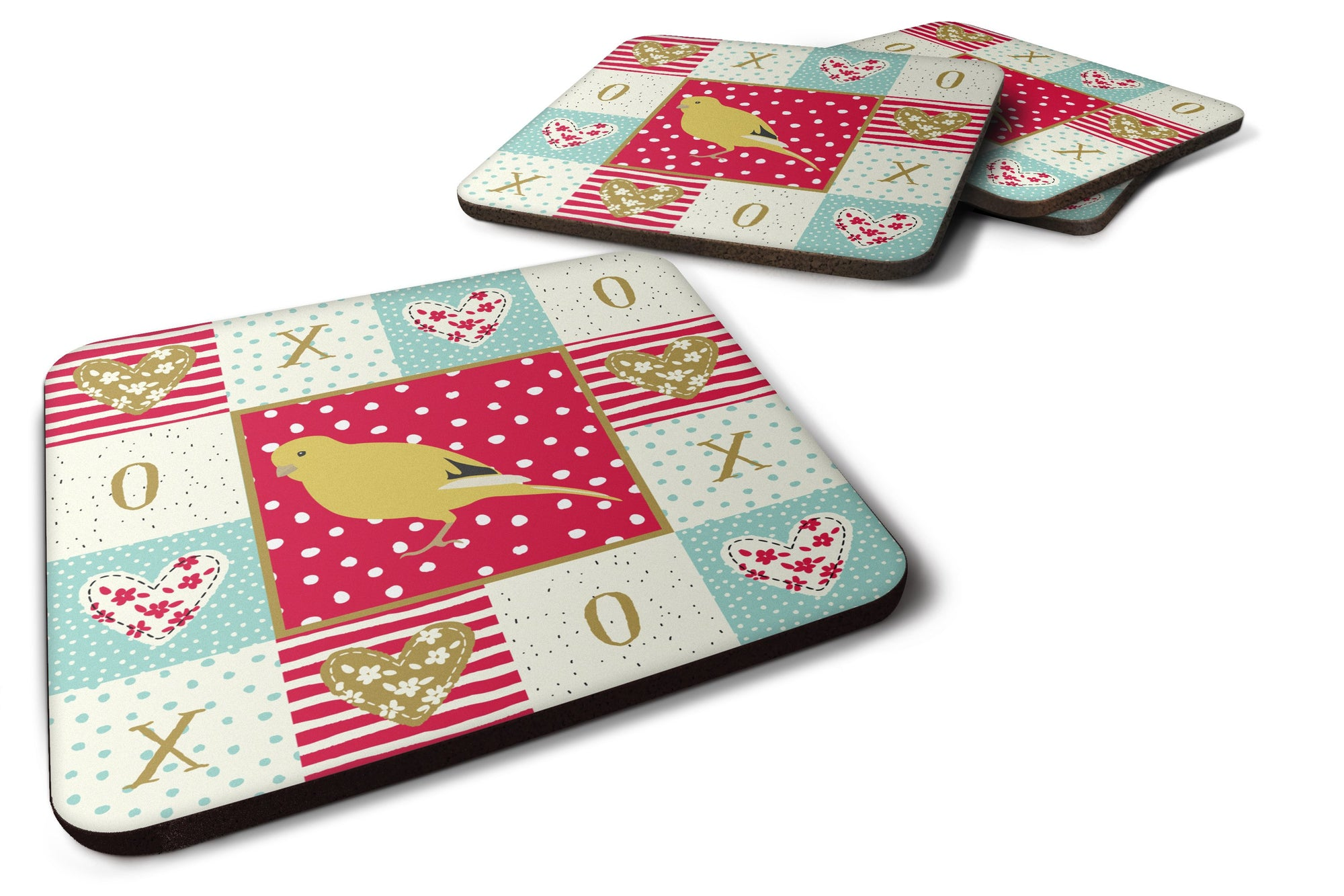 Buy this Set of 4 Border Canary Love Foam Coasters Set of 4 CK5501FC