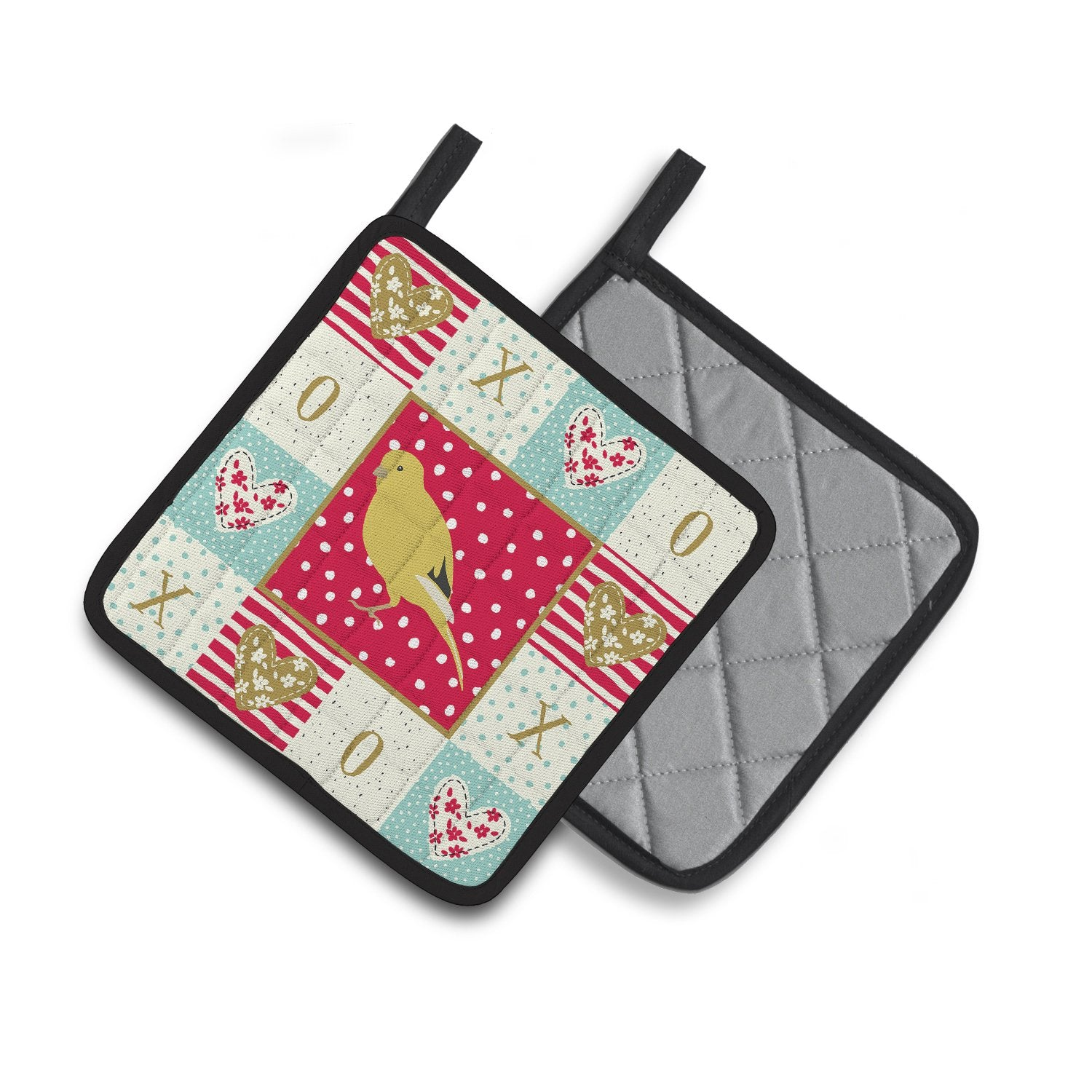 Buy this Border Canary Love Pair of Pot Holders CK5501PTHD