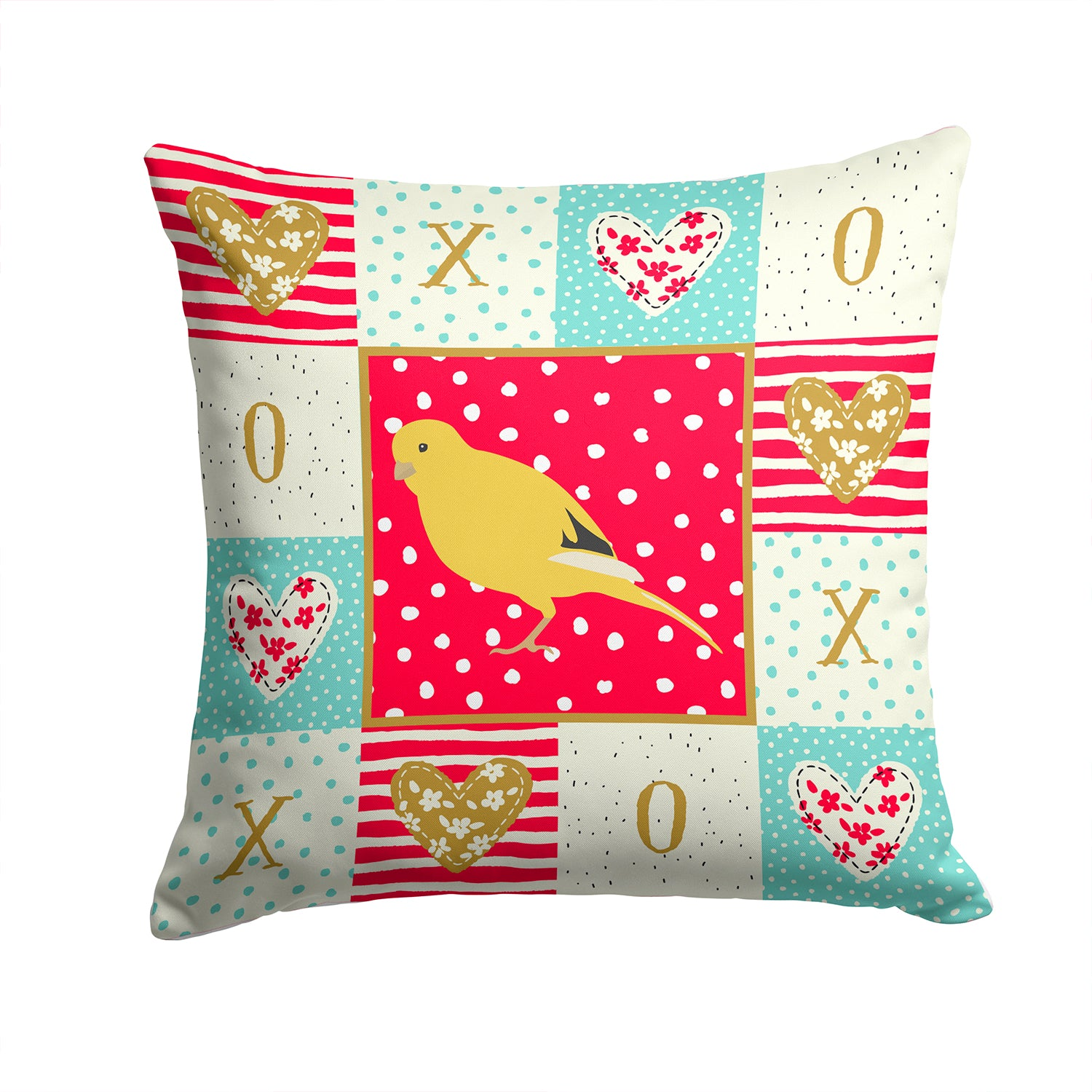 Border Canary Love Fabric Decorative Pillow CK5501PW1414 by Caroline's Treasures