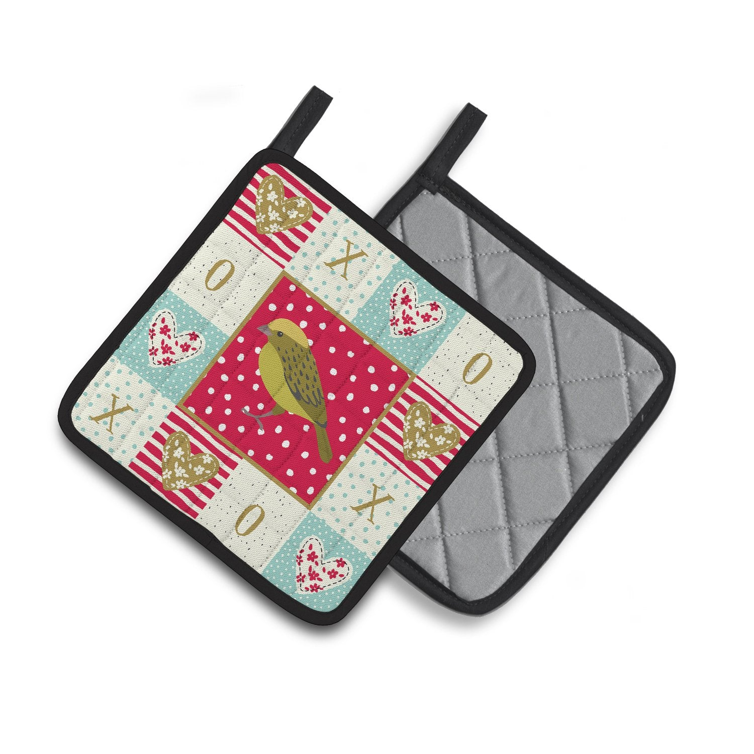Buy this Lizard Canary Love Pair of Pot Holders CK5504PTHD
