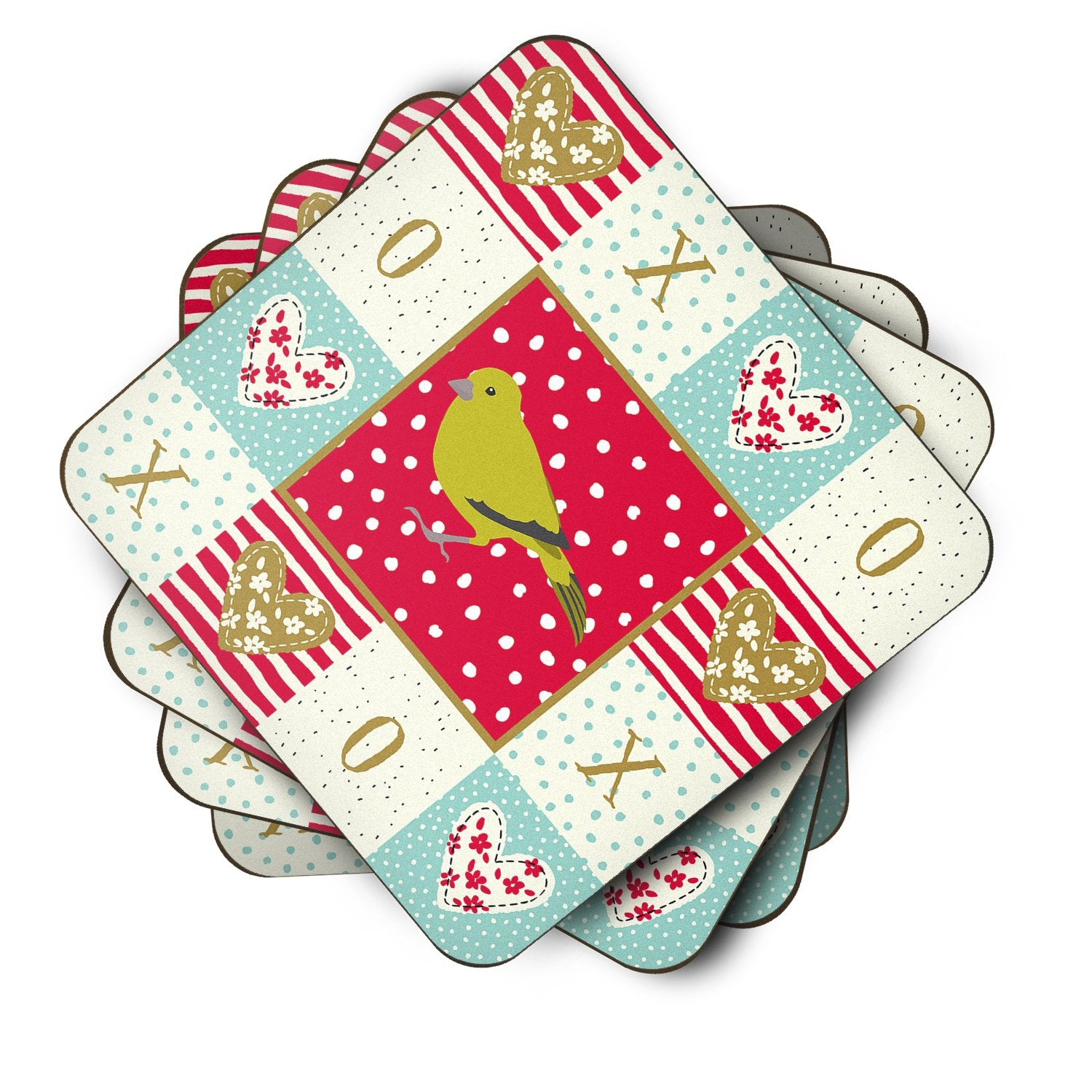 Buy this Set of 4 London Canary Love Foam Coasters Set of 4 CK5505FC