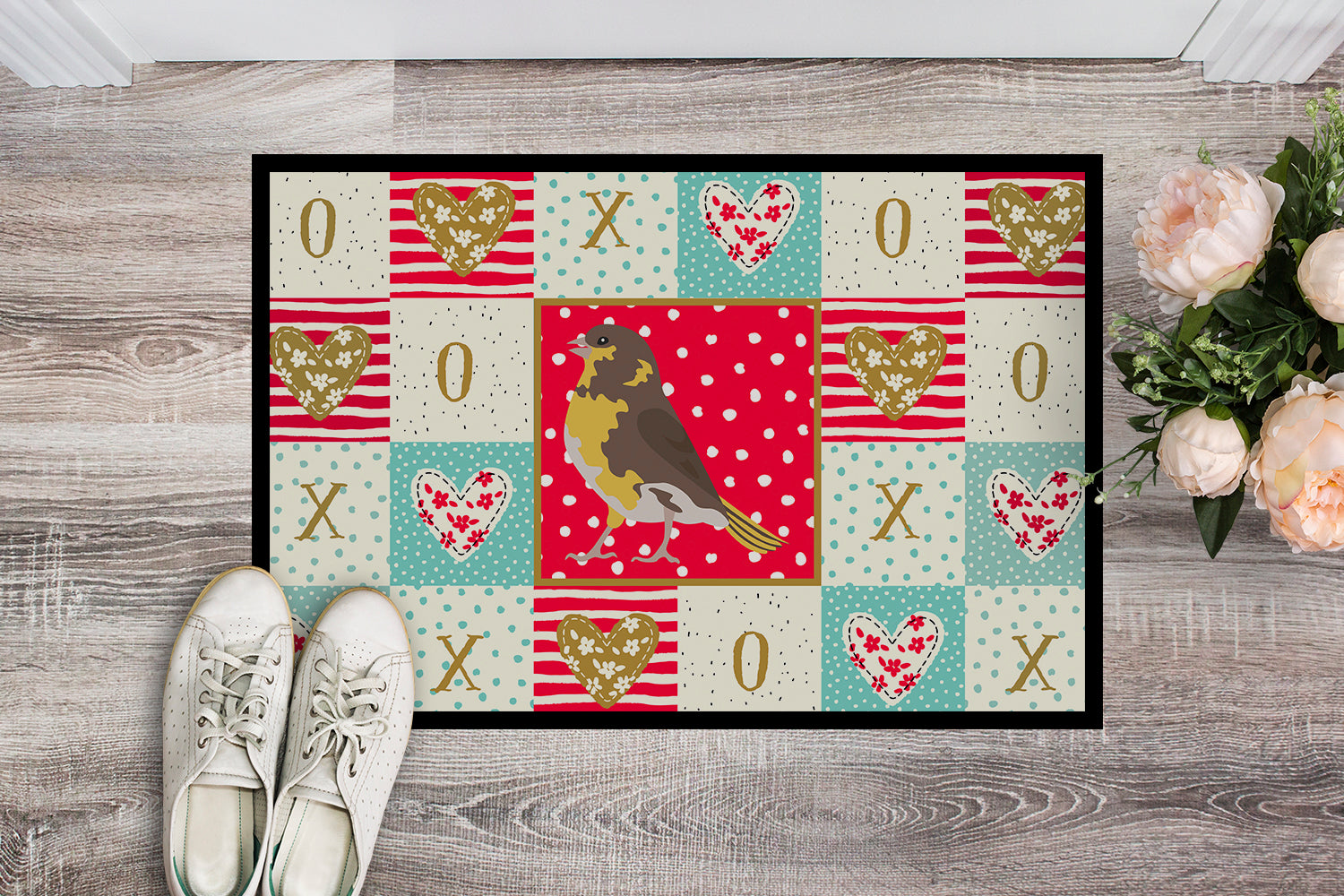 Spanish Canary Love Indoor or Outdoor Mat 18x27 CK5508MAT by Caroline's Treasures