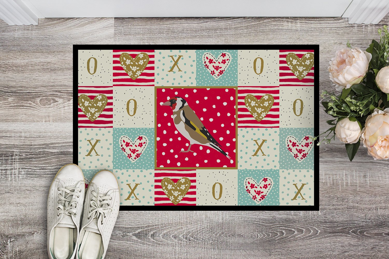 Gold Finch Love Indoor or Outdoor Mat 24x36 CK5512JMAT by Caroline's Treasures