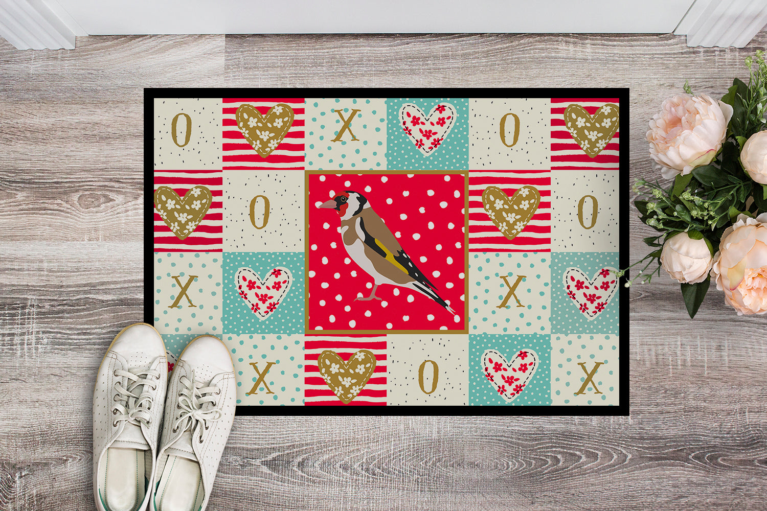 Gold Finch Love Indoor or Outdoor Mat 18x27 CK5512MAT by Caroline's Treasures