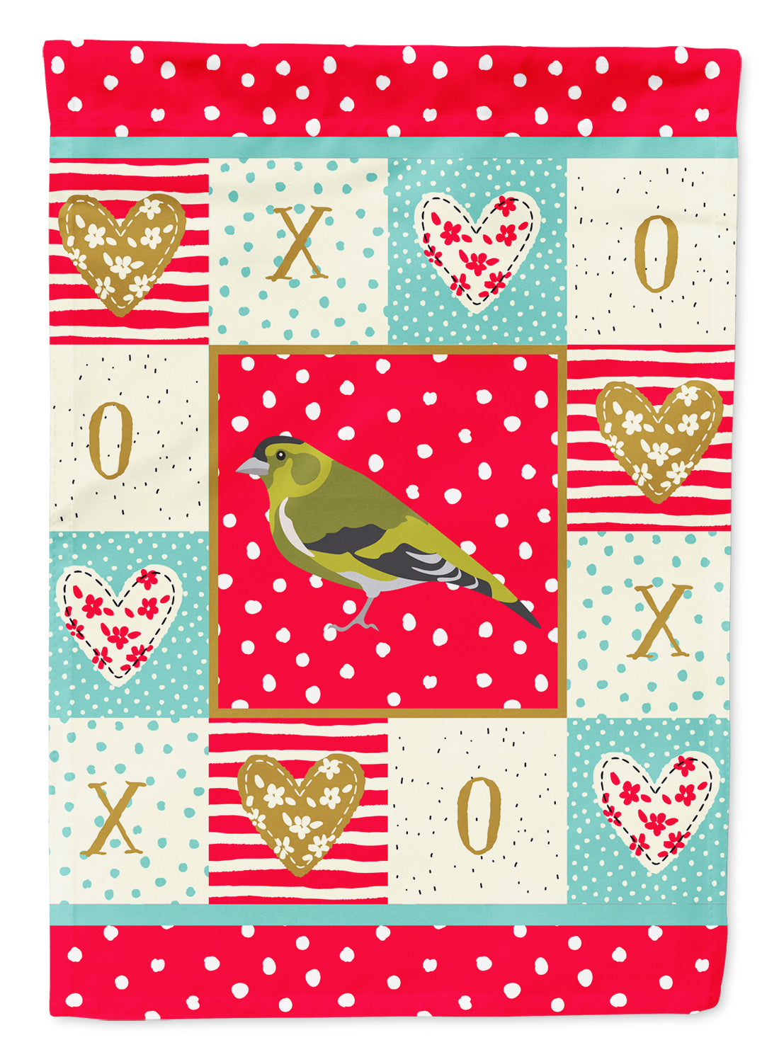 Siskin Love Flag Canvas House Size CK5514CHF by Caroline's Treasures