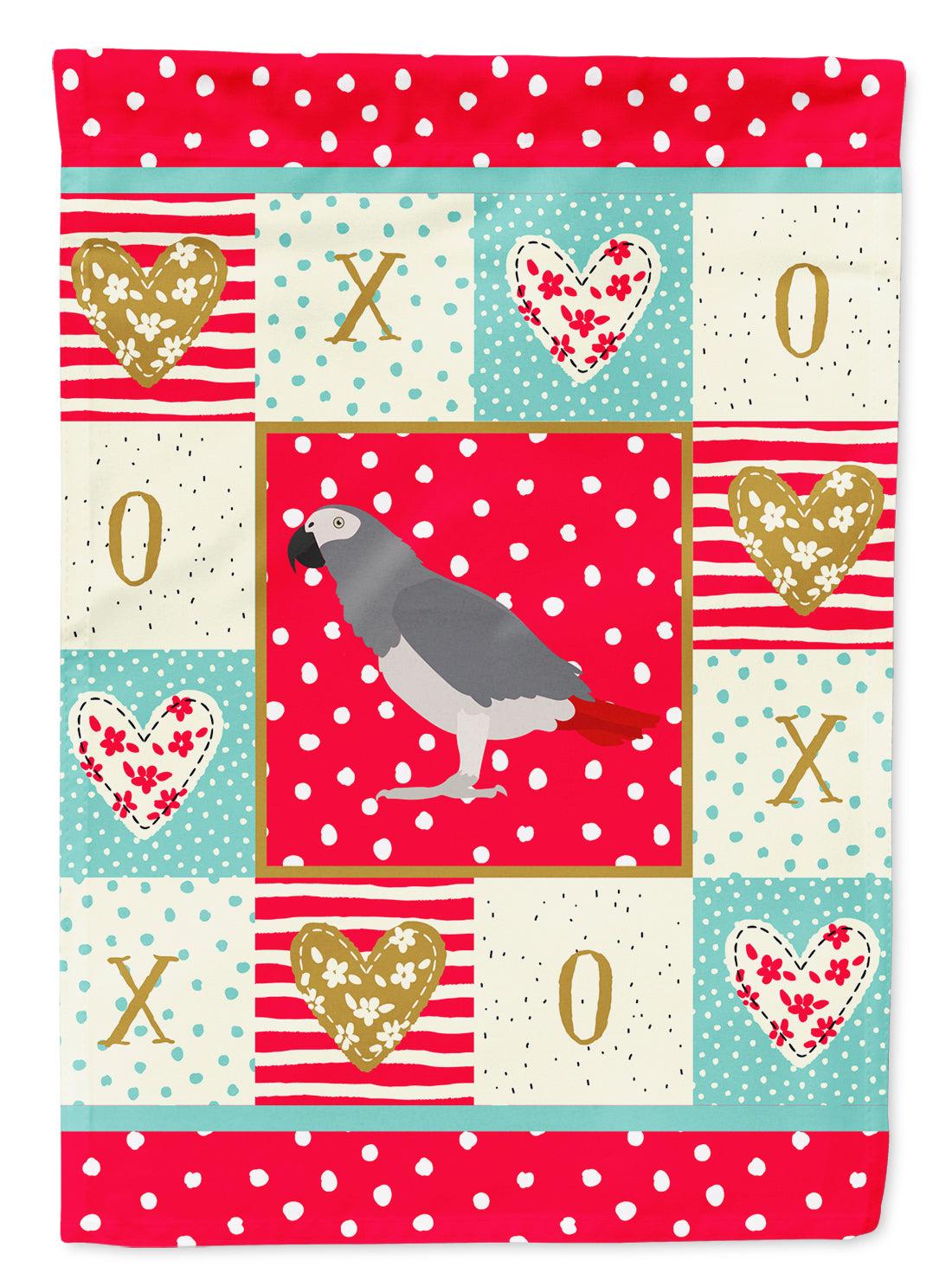 African Grey Parrot Love Flag Canvas House Size CK5518CHF by Caroline's Treasures