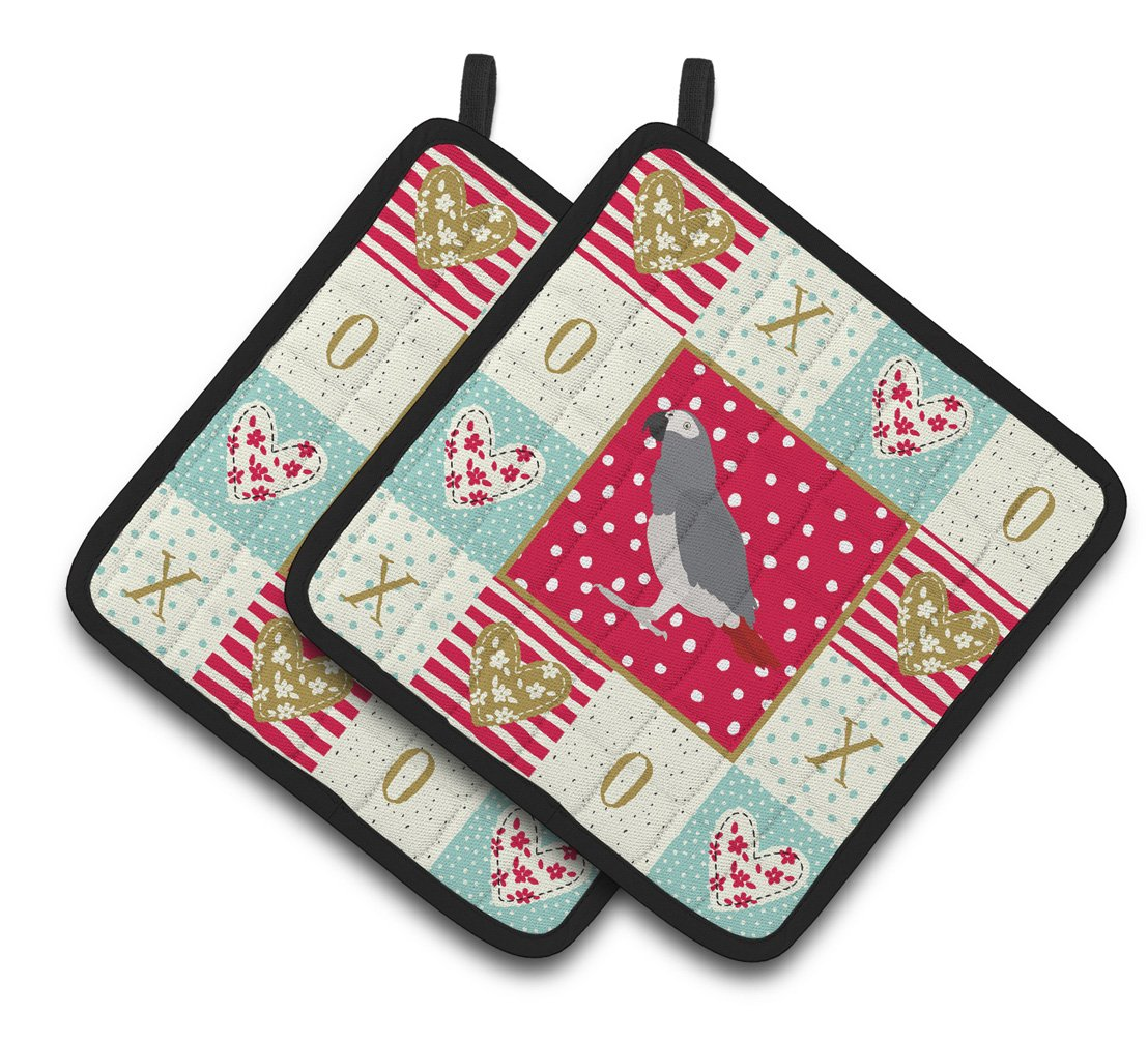 Buy this African Grey Parrot Love Pair of Pot Holders CK5518PTHD