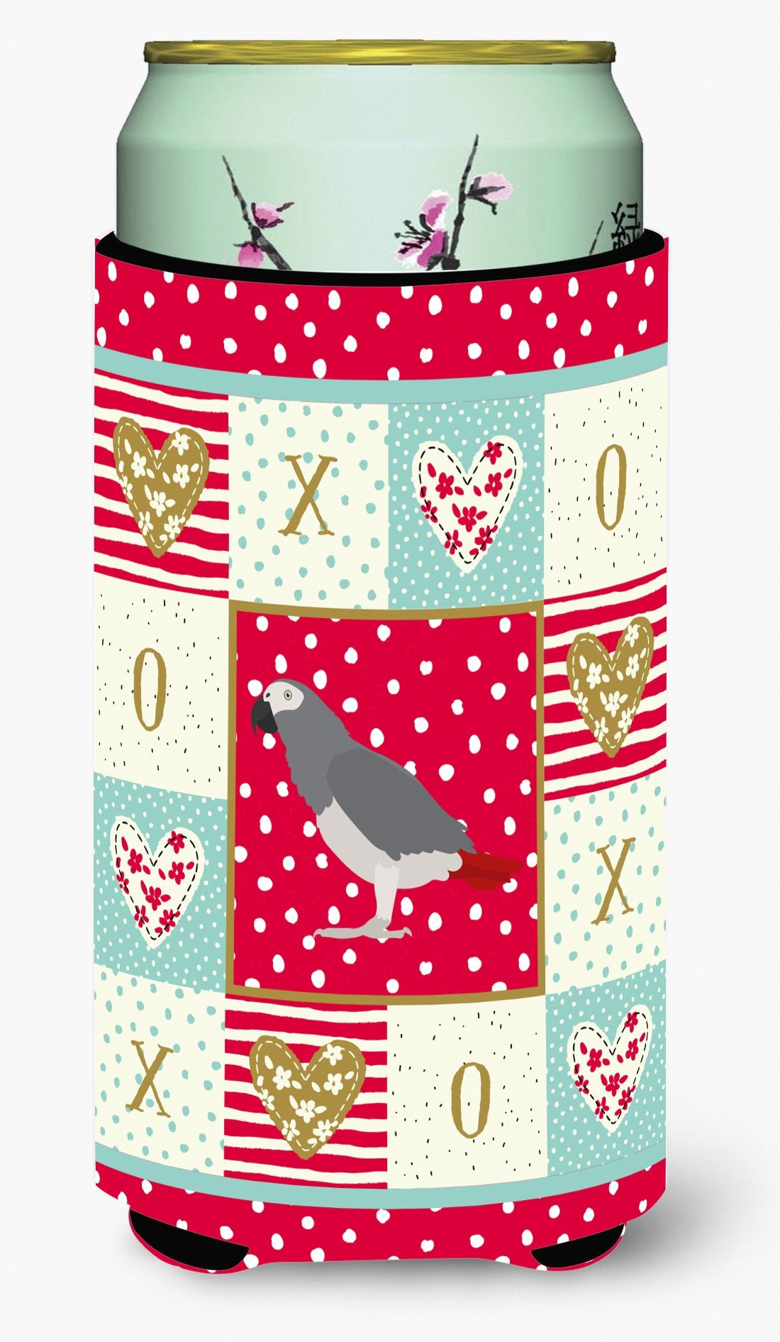 African Grey Parrot Love Tall Boy Beverage Insulator Hugger CK5518TBC by Caroline's Treasures