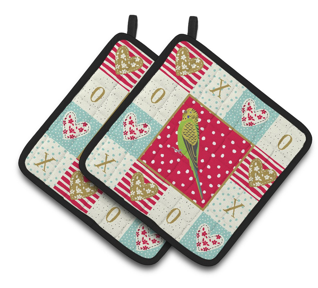 Buy this Budgerigar Love Pair of Pot Holders CK5520PTHD