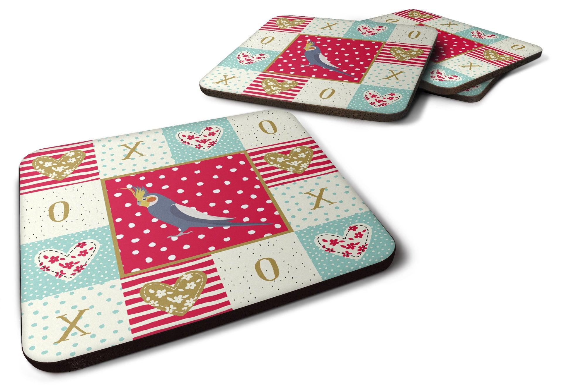 Set of 4 Cockatiel Love Foam Coasters Set of 4 CK5521FC by Caroline's Treasures