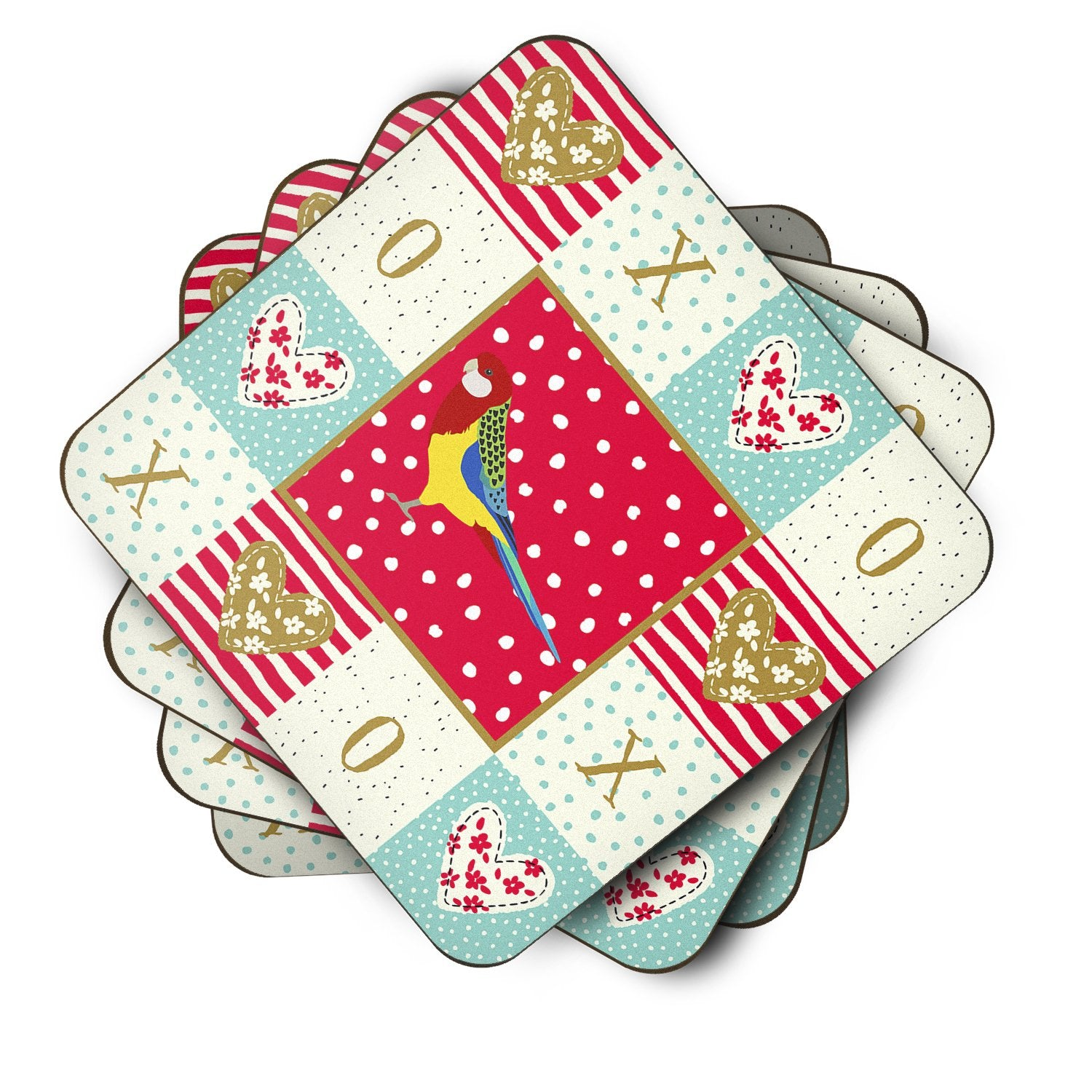 Set of 4 Rosella Love Foam Coasters Set of 4 CK5526FC by Caroline's Treasures