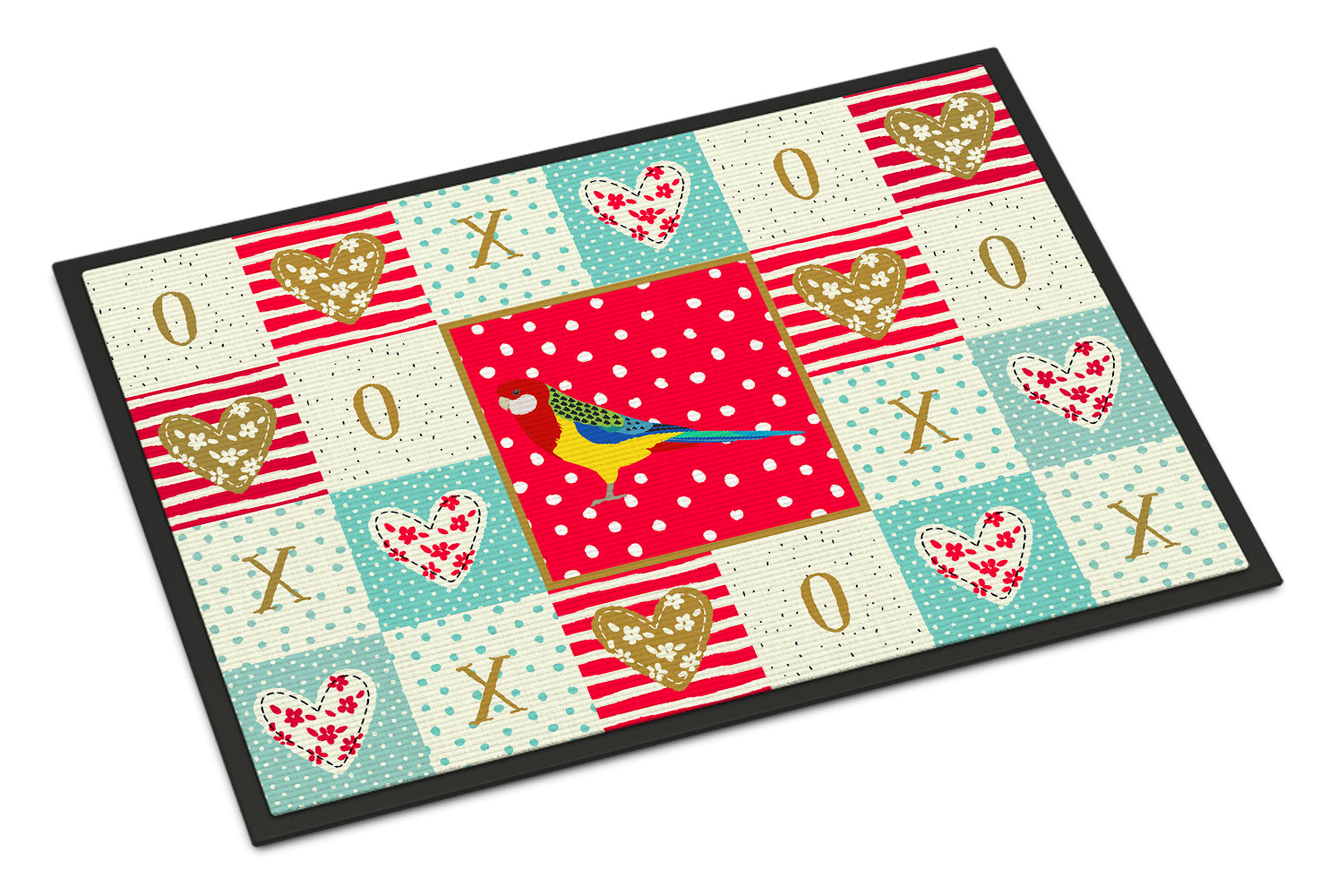 Rosella Love Indoor or Outdoor Mat 18x27 CK5526MAT by Caroline's Treasures