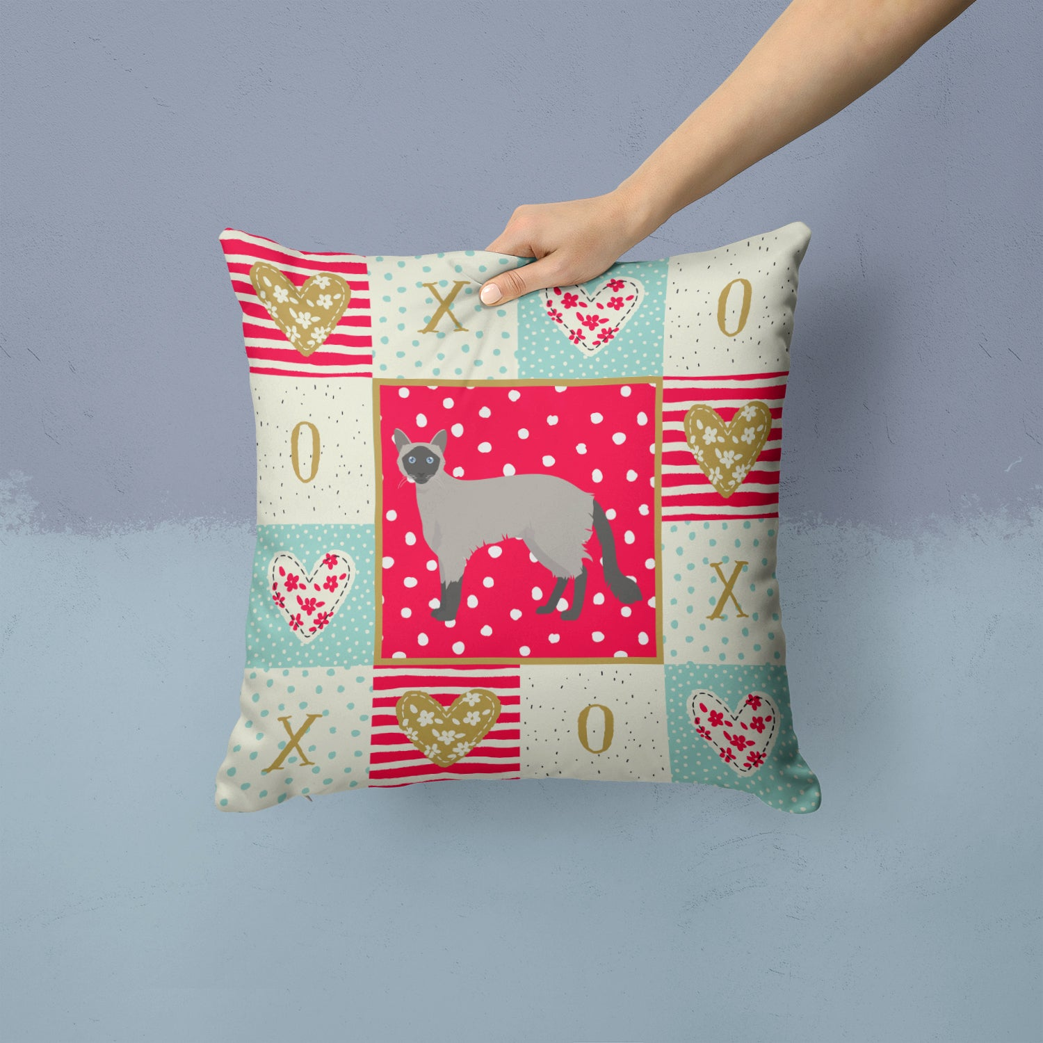 Buy this Balinese #1 Cat Love Fabric Decorative Pillow CK5558PW1414