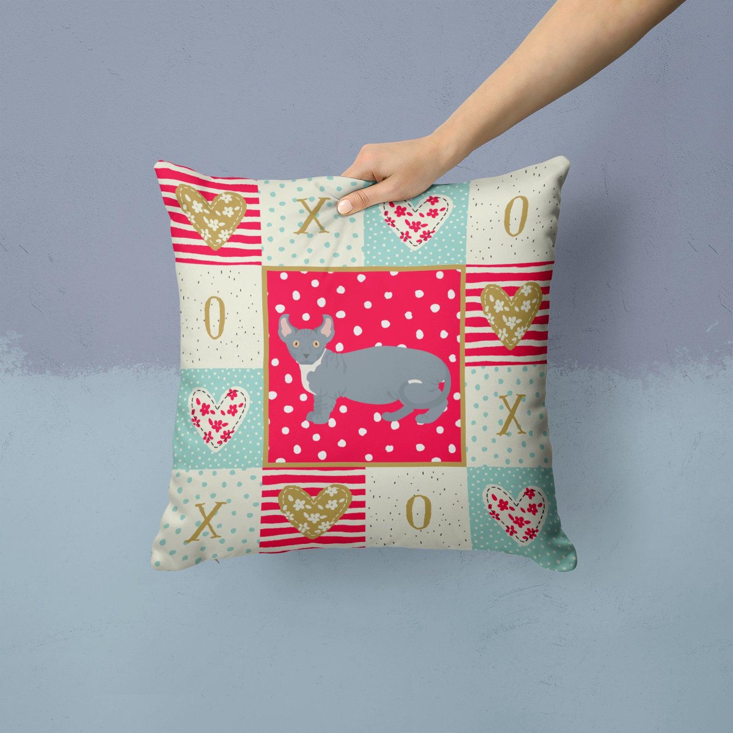 Buy this Dwelf #2 Cat Love Fabric Decorative Pillow CK5605PW1414