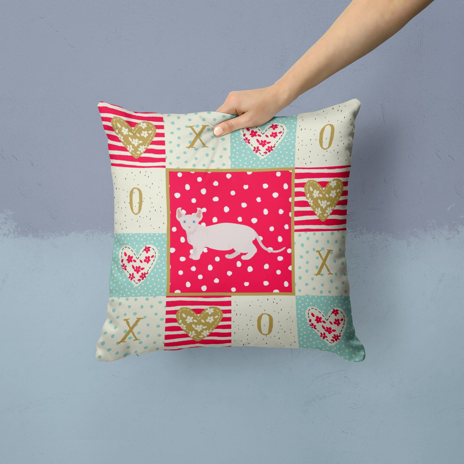 Buy this Dwelf #3 Cat Love Fabric Decorative Pillow CK5606PW1414