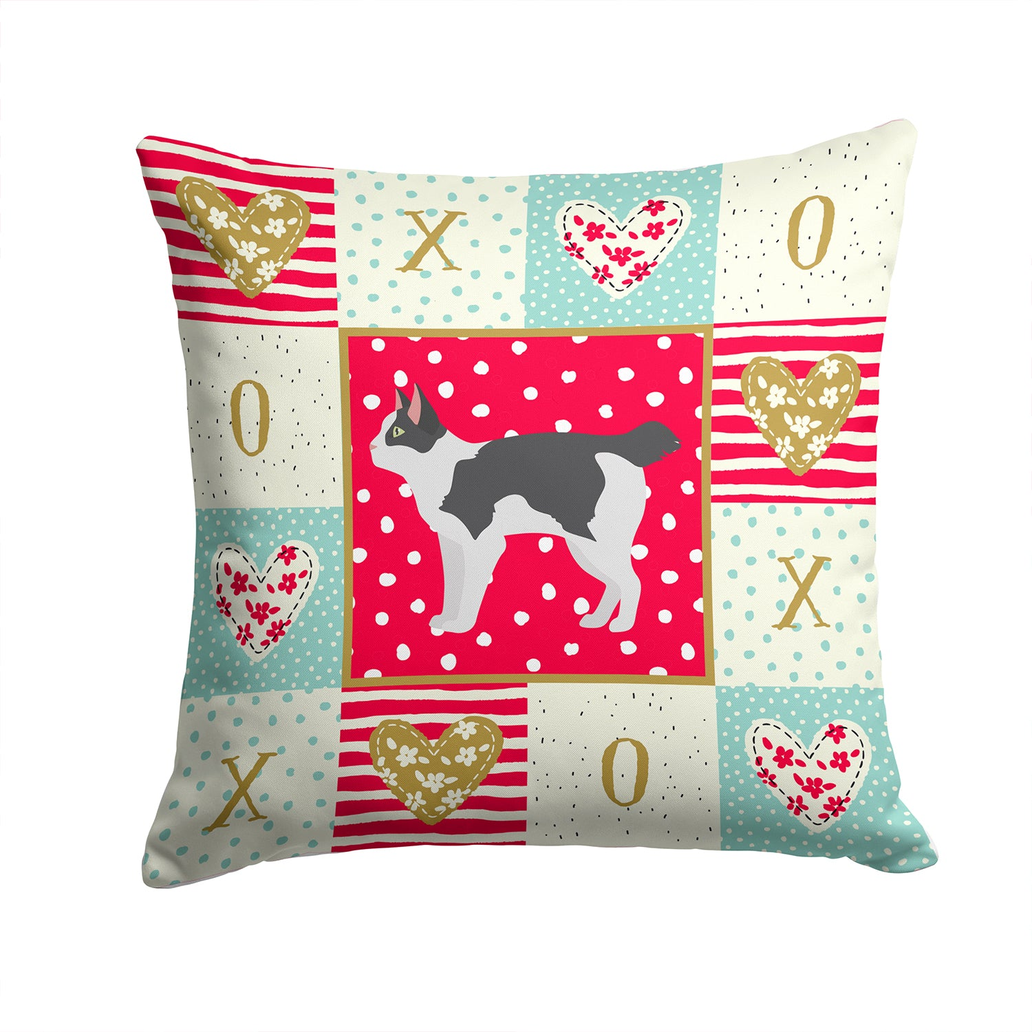 Buy this Japanese Bobtail Cat Love Fabric Decorative Pillow CK5627PW1414