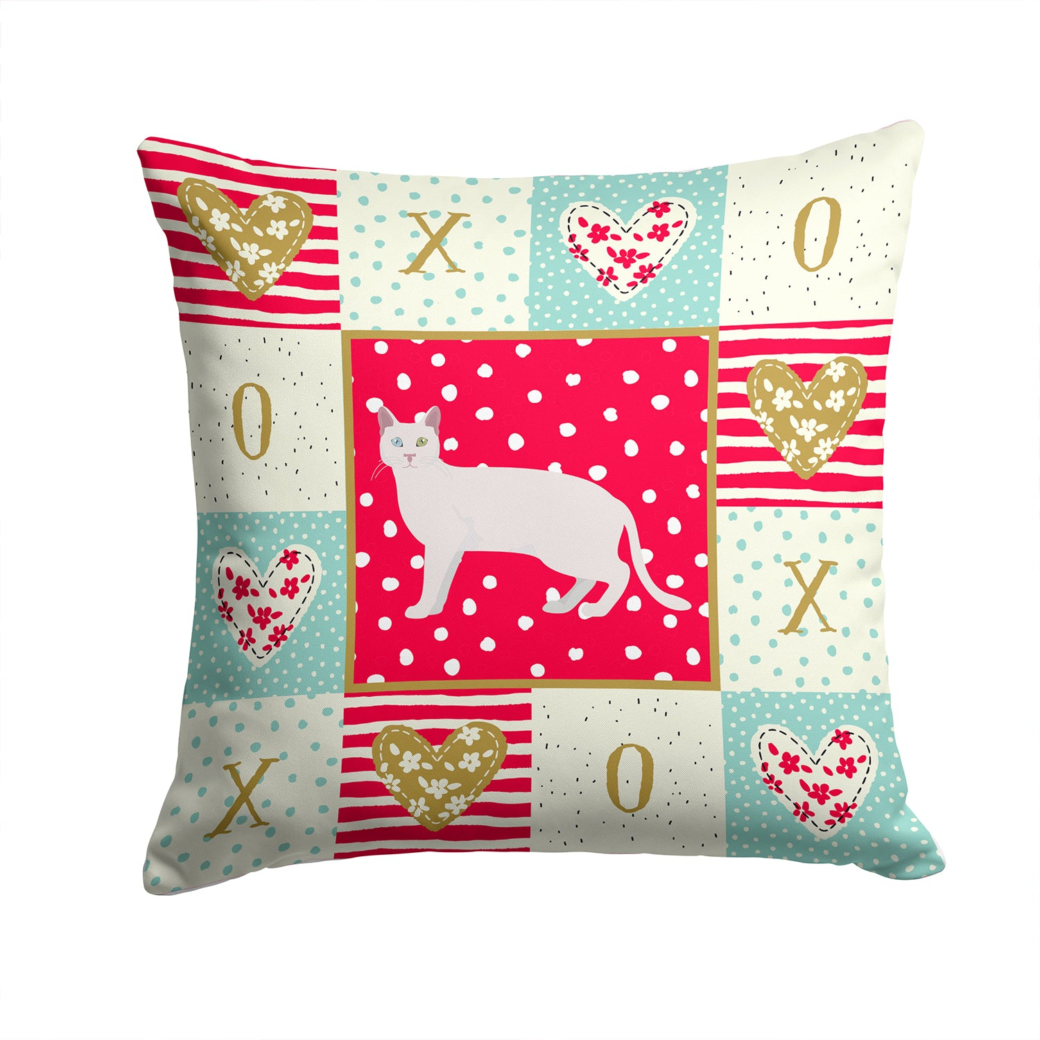 Buy this Khao Manee #1 Cat Love Fabric Decorative Pillow CK5628PW1414