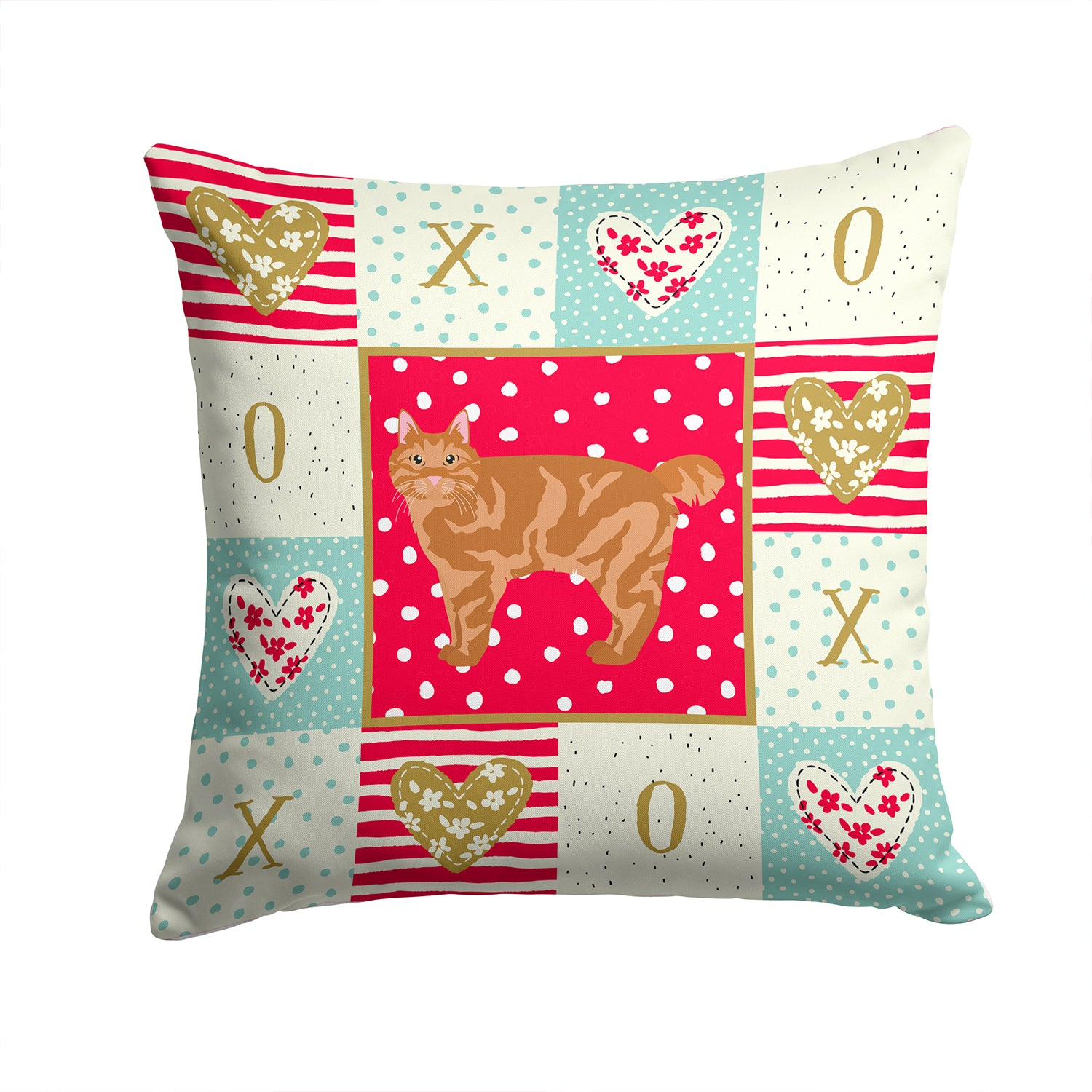 Buy this Kurilian Bobtail Cat Love Fabric Decorative Pillow CK5634PW1414