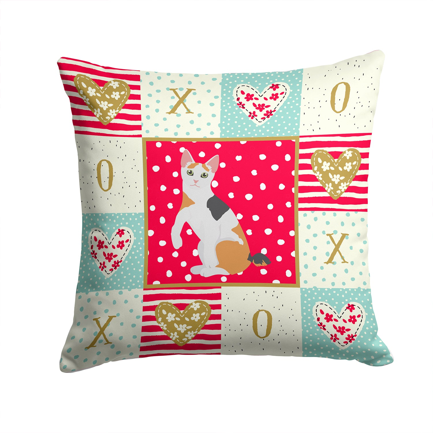 Buy this Japanese Bobtail Cat Love Fabric Decorative Pillow CK5765PW1414