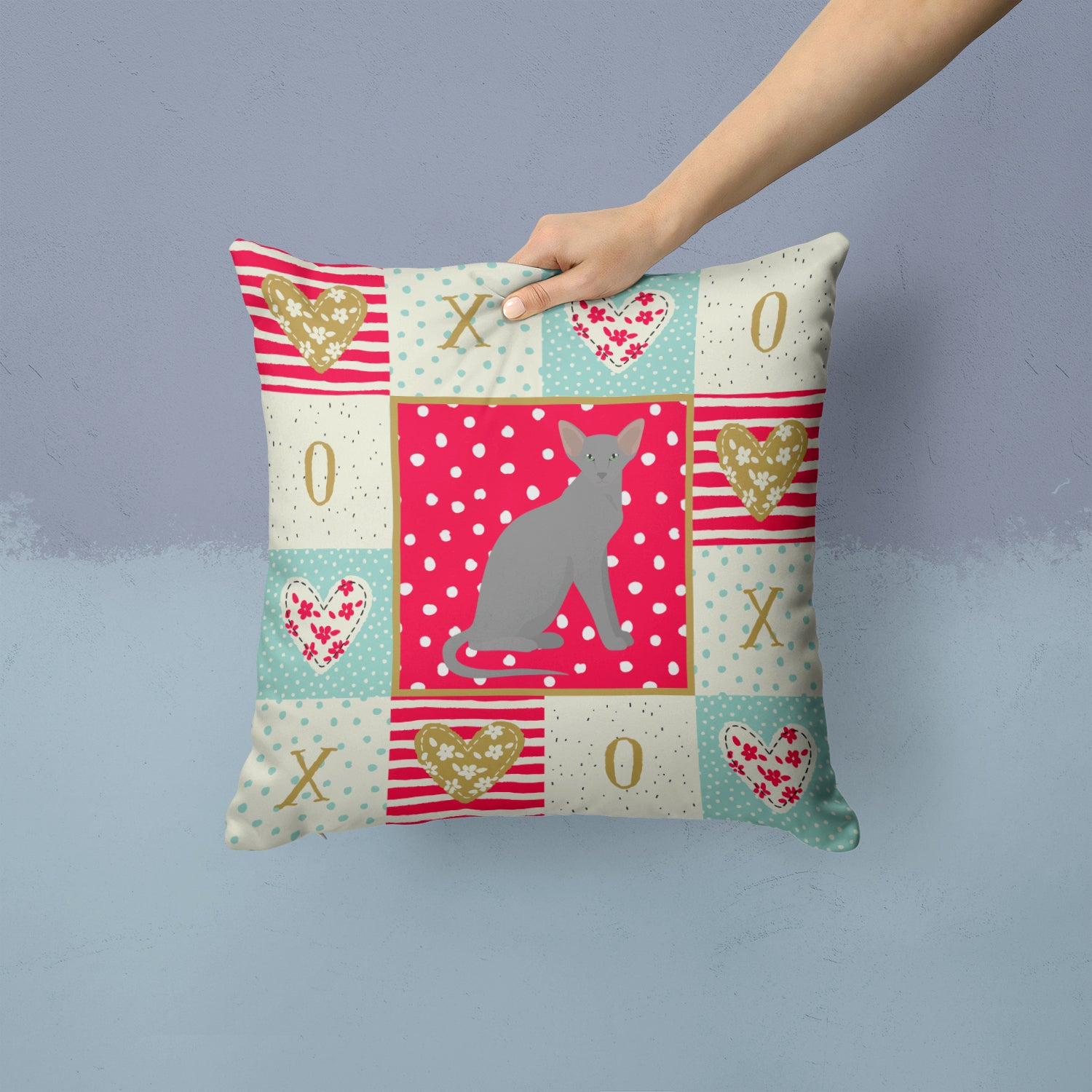 Buy this Oriental Shorthair Cat Love Fabric Decorative Pillow CK5777PW1414