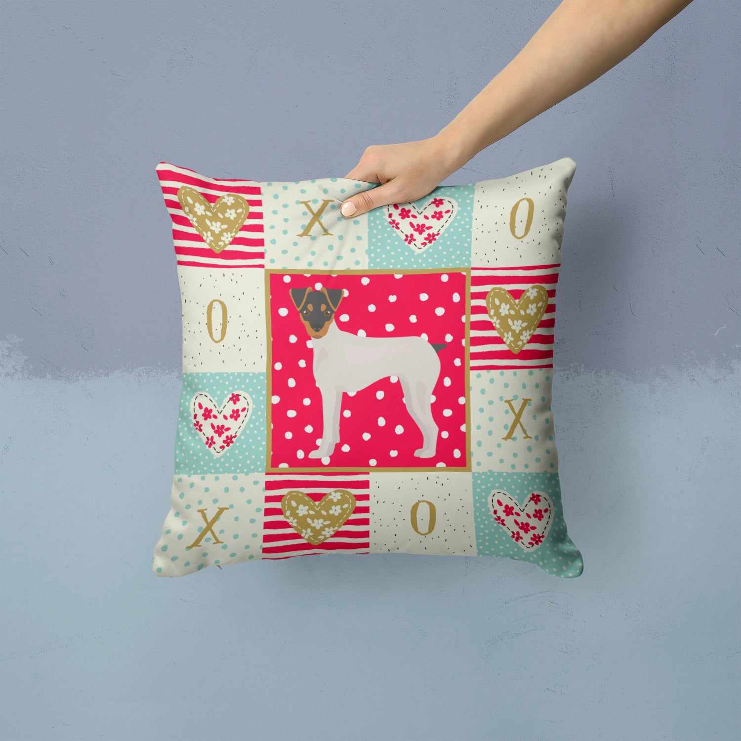 Japanese Terrier Love Fabric Decorative Pillow CK5851PW1414 by Caroline's Treasures