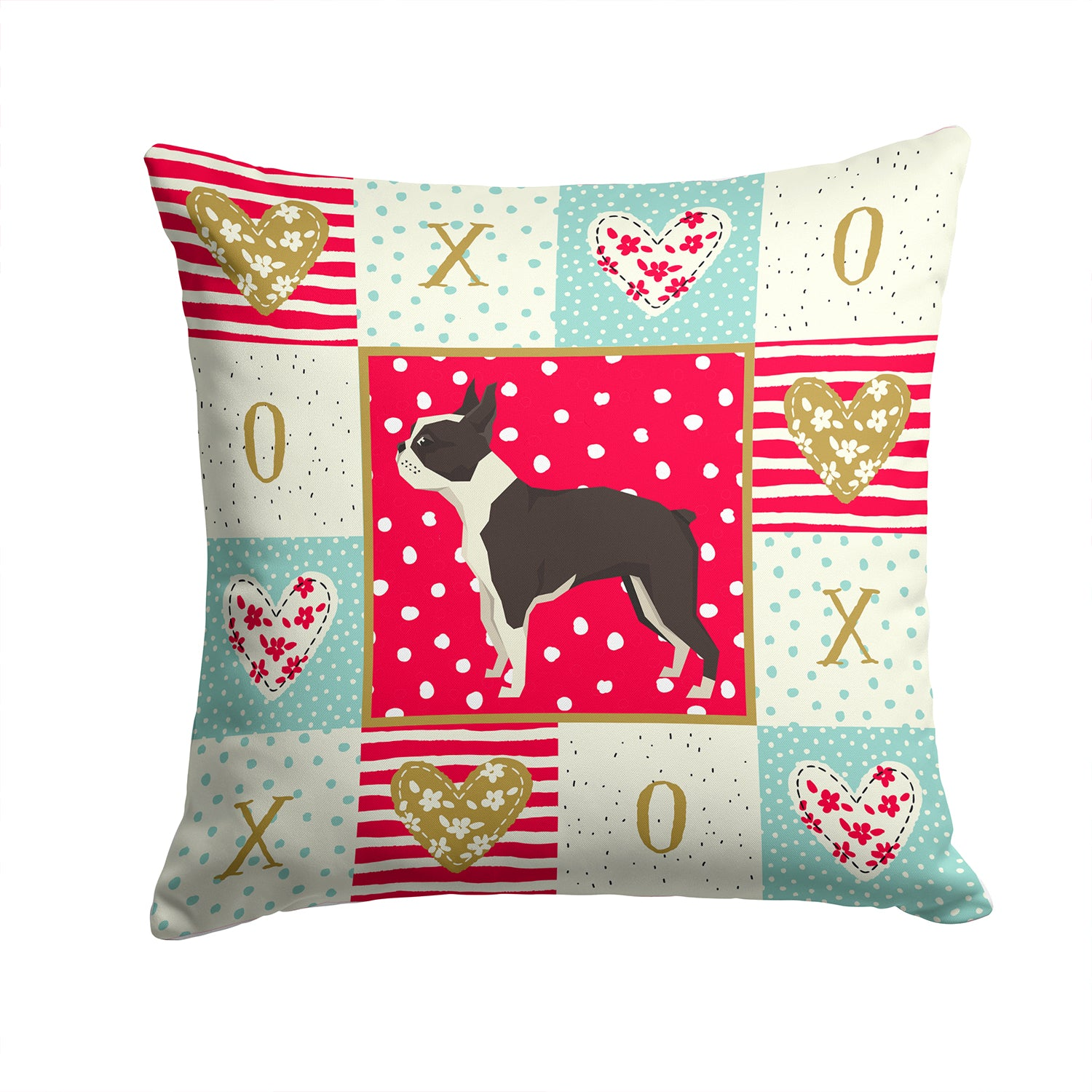 Buy this Boston Terrier Love Fabric Decorative Pillow CK5915PW1414