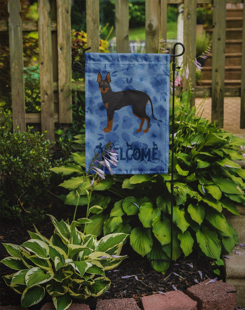 English Toy Terrier #2 Welcome Flag Garden Size CK5989GF by Caroline's Treasures