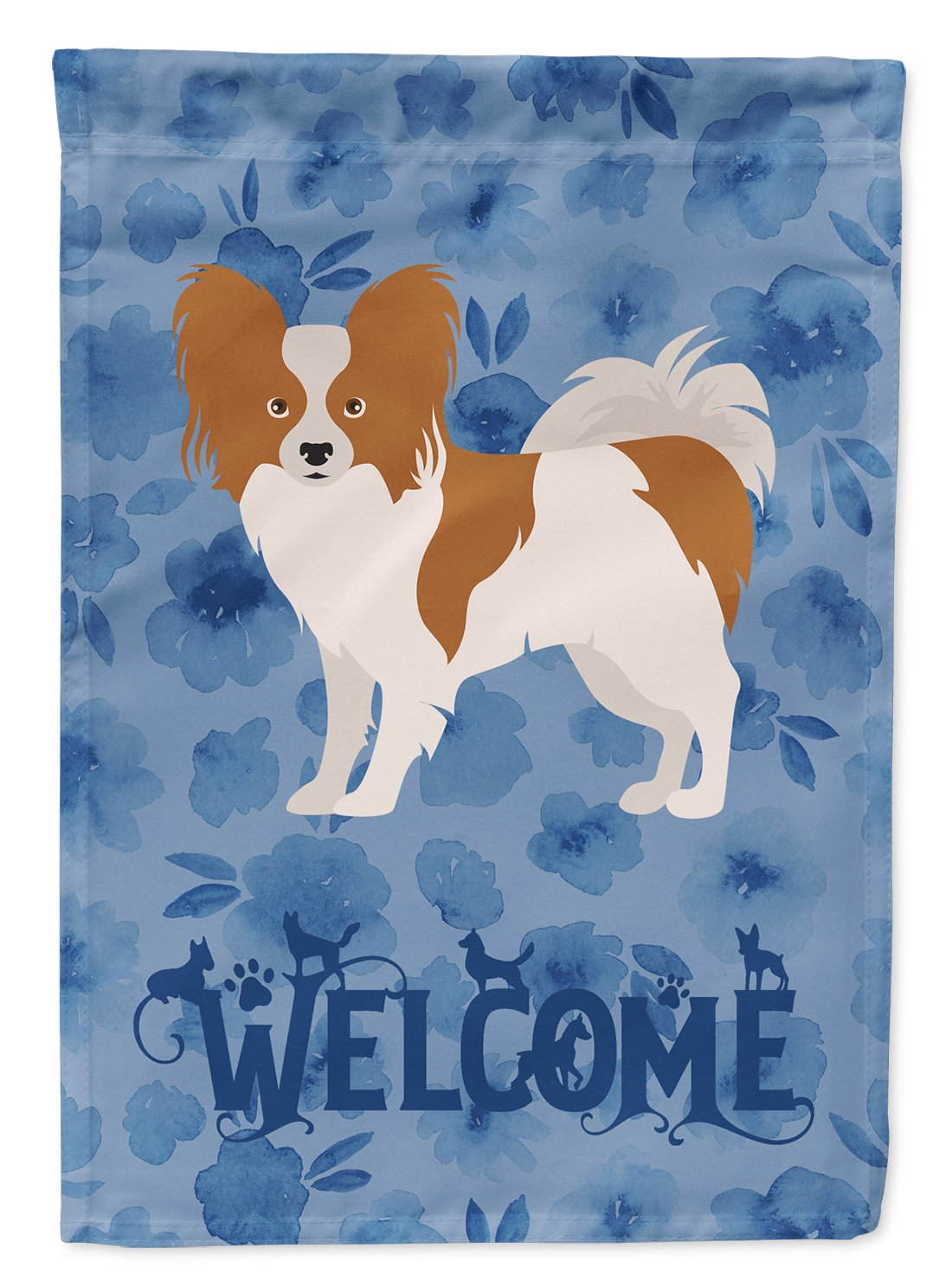 Papillon #1 Welcome Flag Garden Size CK6027GF by Caroline's Treasures