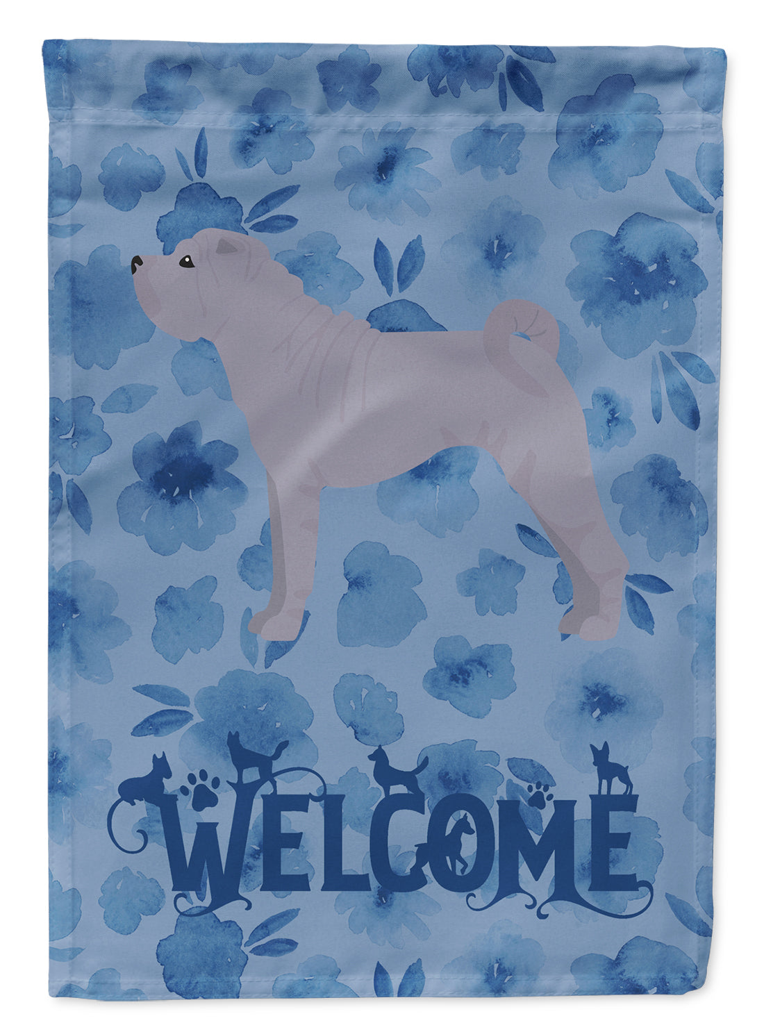 Shar Pei #1 Welcome Flag Canvas House Size CK6049CHF by Caroline's Treasures