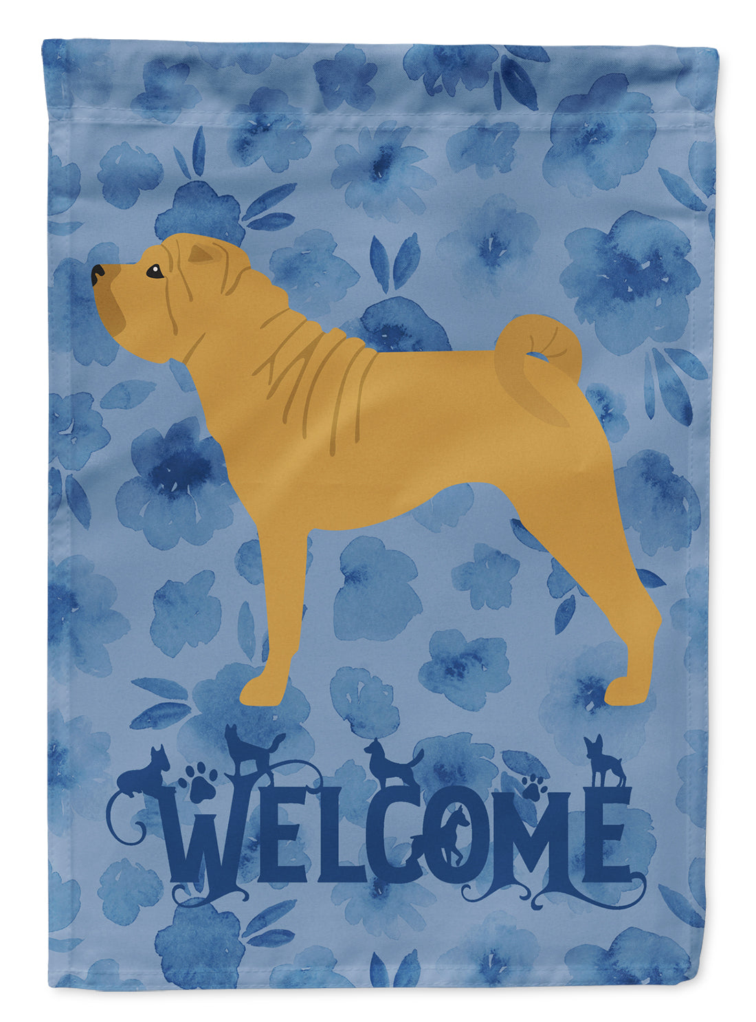 Shar Pei Welcome Flag Canvas House Size CK6179CHF by Caroline's Treasures