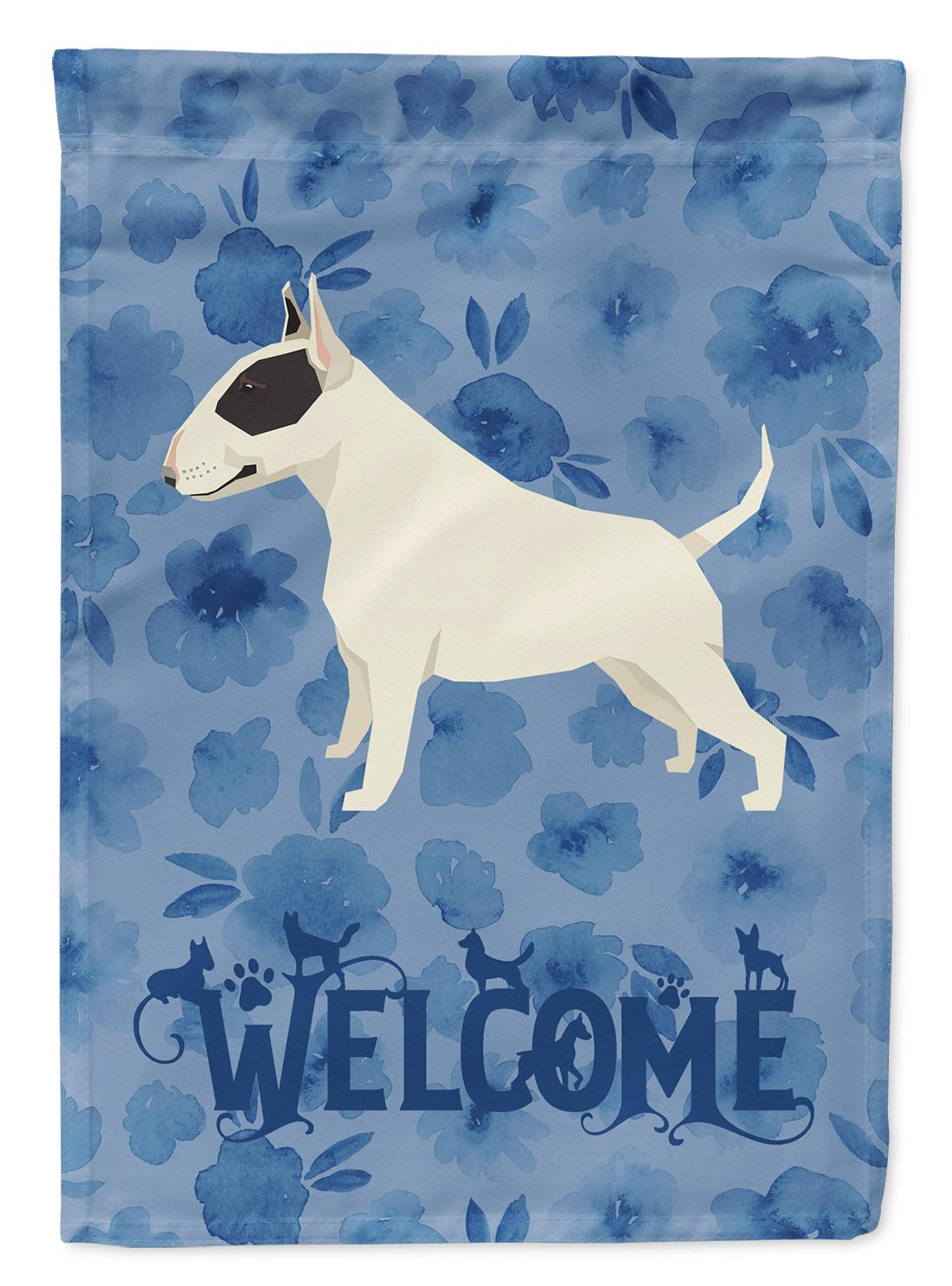 Black and White Bull Terrier Welcome Flag Garden Size CK6231GF by Caroline's Treasures