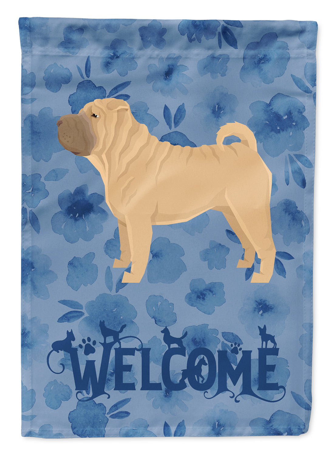 Shar Pei Welcome Flag Canvas House Size CK6266CHF by Caroline's Treasures