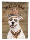 White Staffordshire Bull Terrier Country Dog Flag Canvas House Size CK6277CHF by Caroline's Treasures