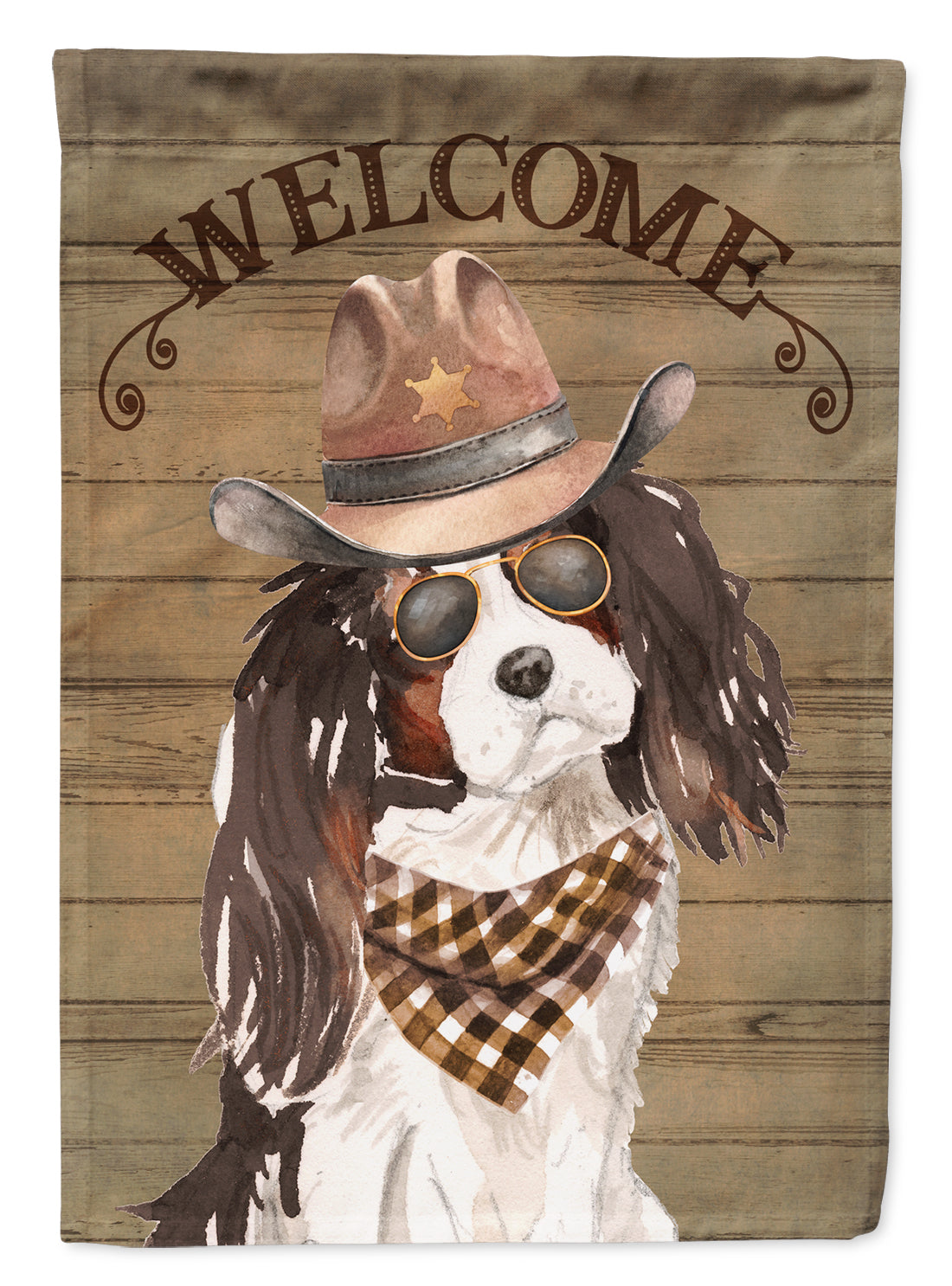Tricolor Cavalier Spaniel Country Dog Flag Canvas House Size CK6371CHF by Caroline's Treasures