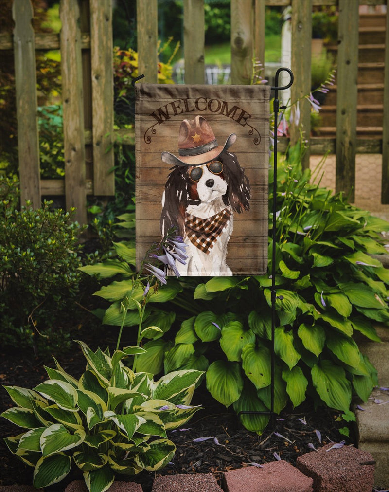 Buy this Tricolor Cavalier Spaniel Country Dog Flag Garden Size CK6371GF