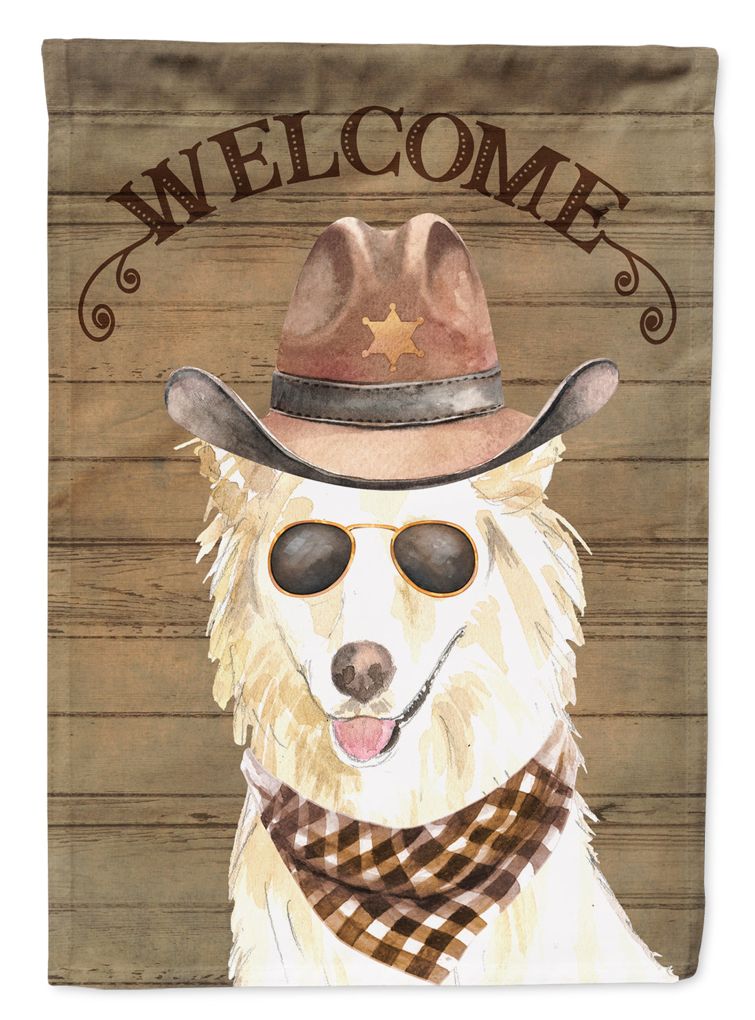 White Collie Country Dog Flag Canvas House Size CK6377CHF by Caroline's Treasures