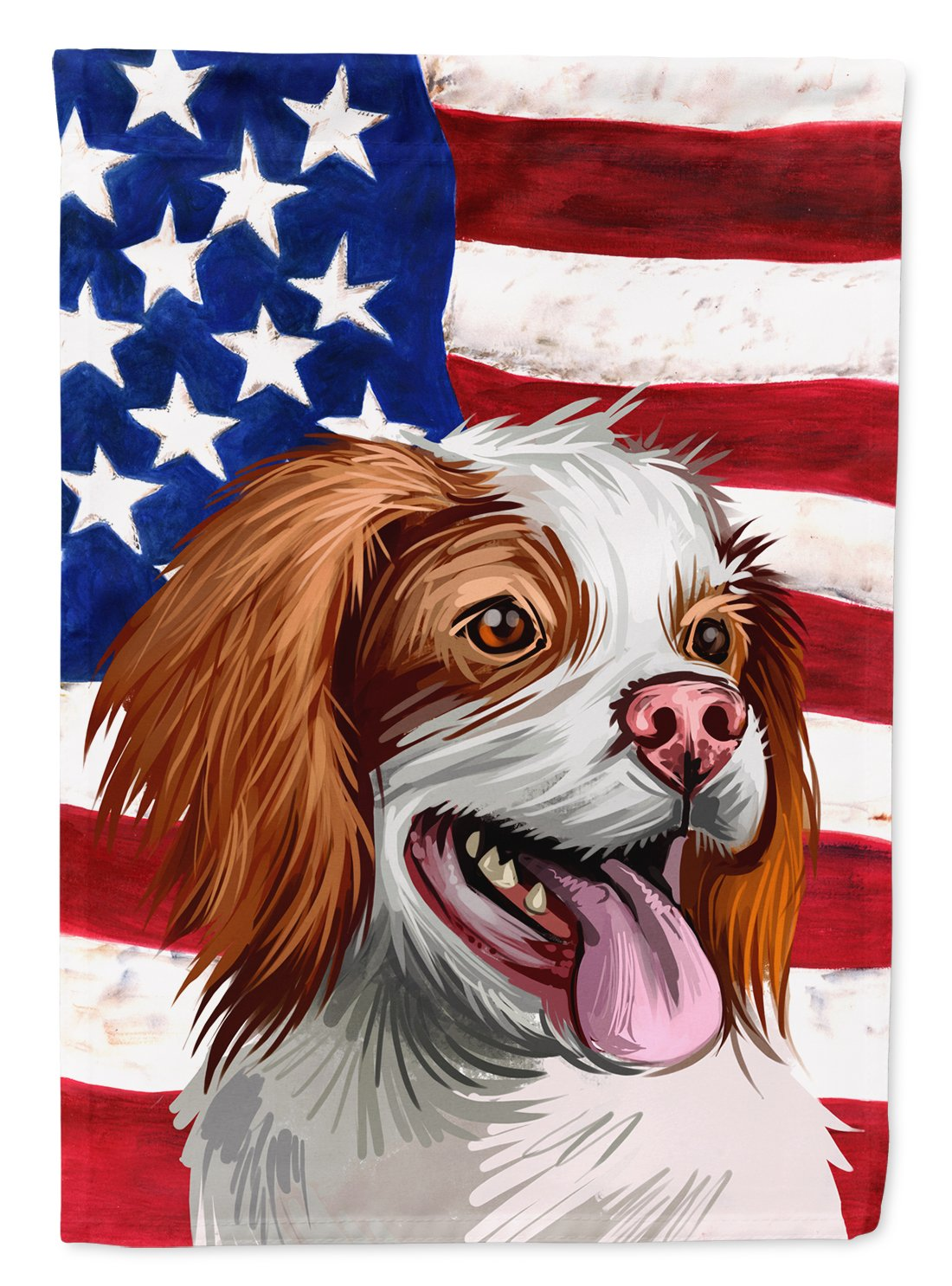 French Brittany Dog American Flag Flag Garden Size CK6529GF by Caroline's Treasures